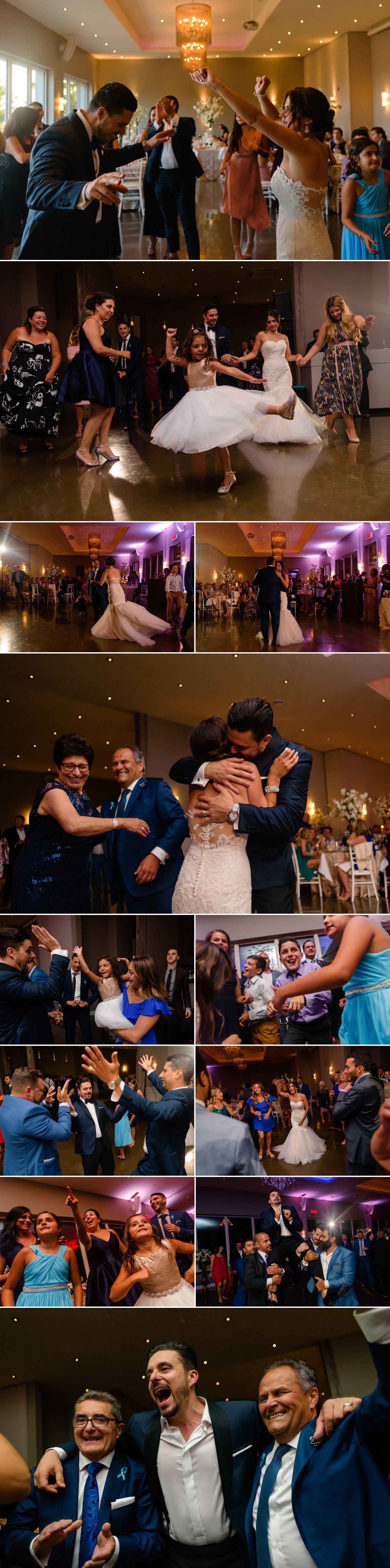 candid dance floor moments during an italian wedding reception at le belevedere in wakefield quebec