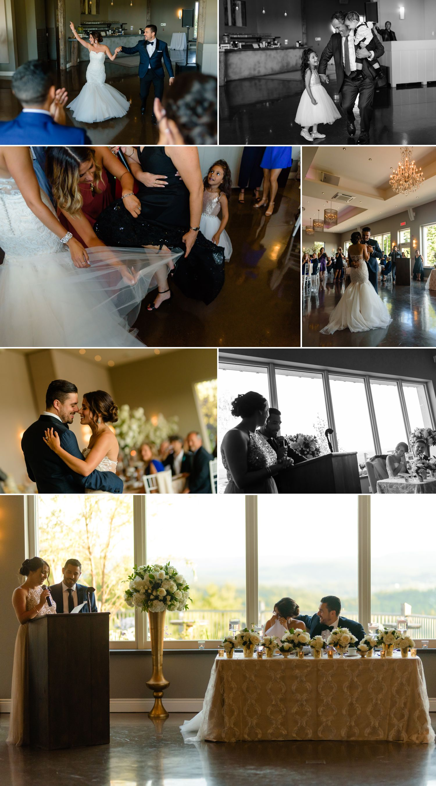 candid moments during an italian wedding reception at le belevedere in wakefield quebec
