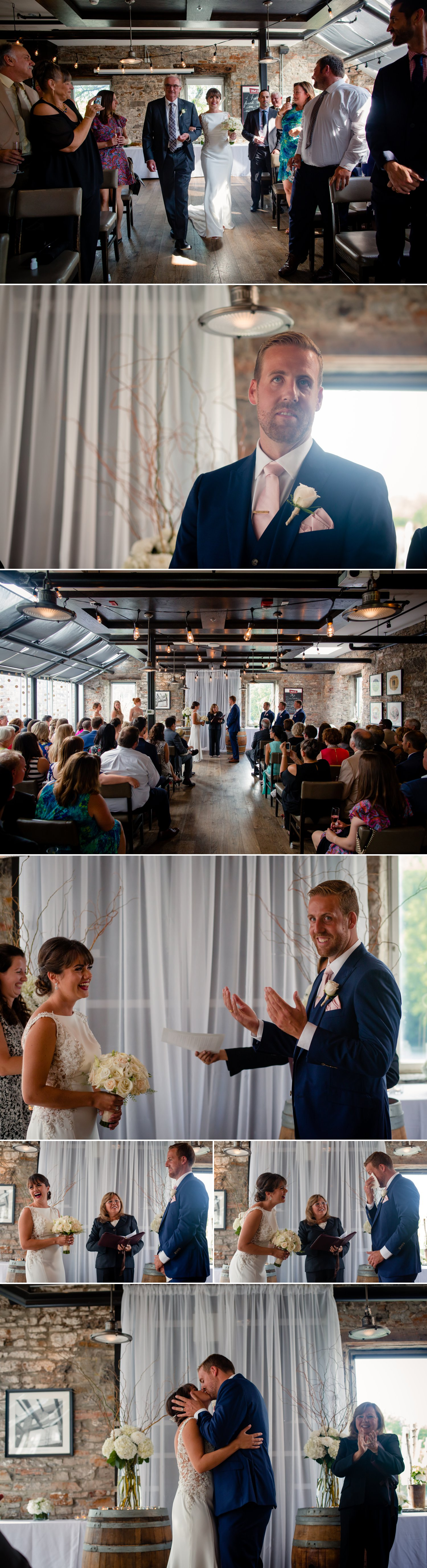 A wedding ceremony held at The Mill St. Brew Pub in downtown Ottawa