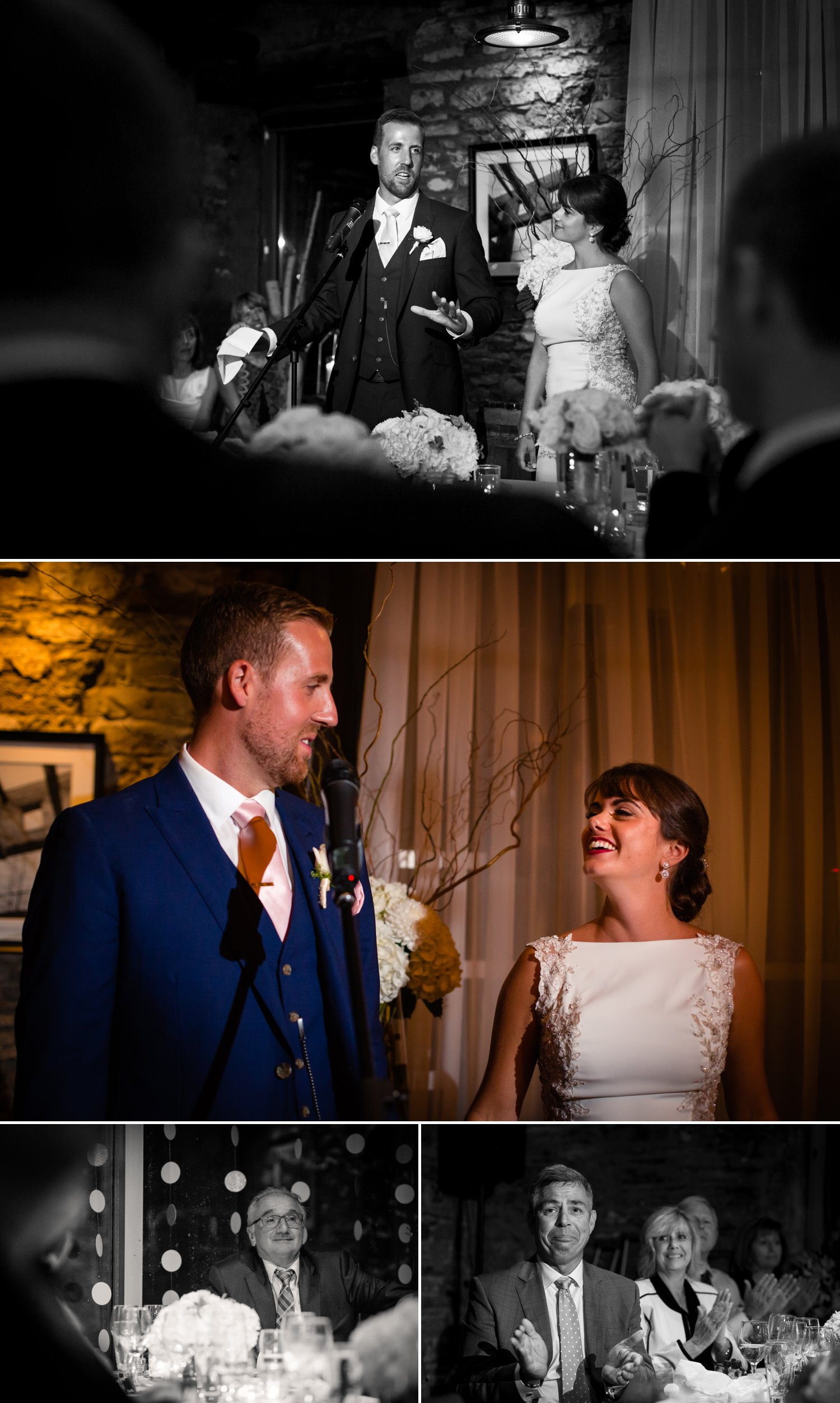 The bride and groom delivering their wedding speech during their wedding reception at The Mill St Brew Pub in Ottawa
