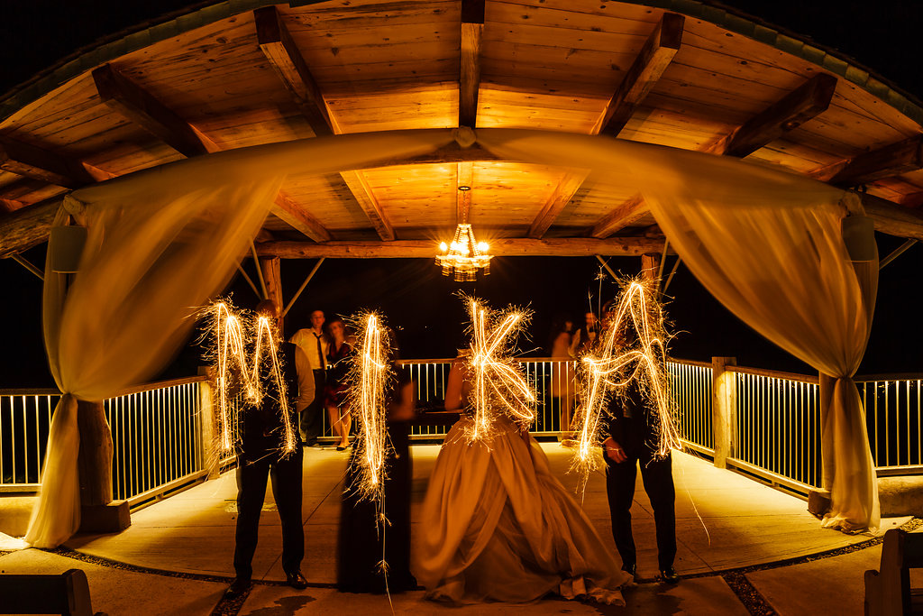 sparkler wedding shot
