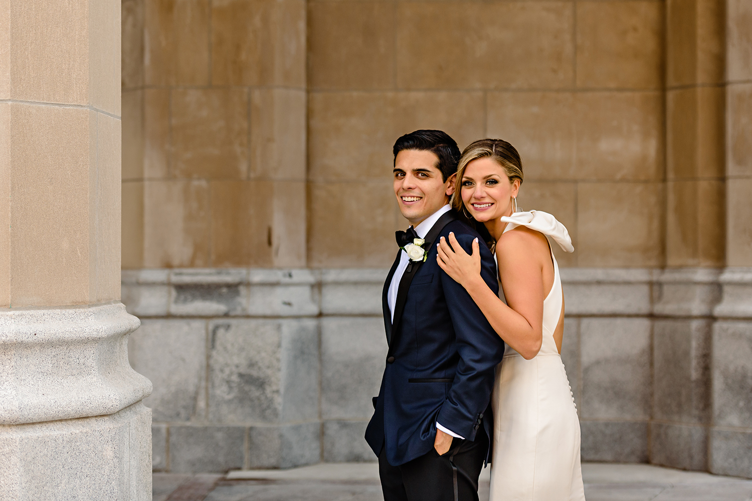 bride and groom portrait at the fairmont chateau laurier in ottawa on