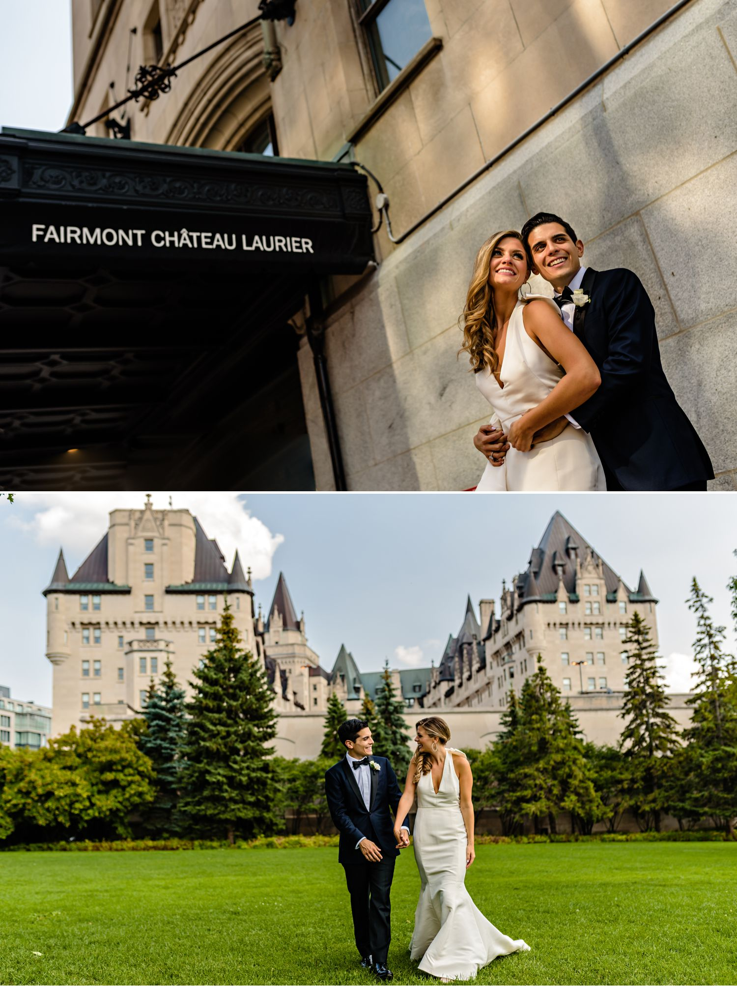 bride and groom portraits outside the fairmont chateau laurier in ottawa on