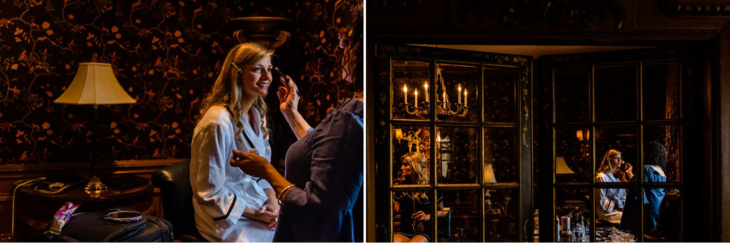 bride getting her makeup applied for her jewish wedding at the fairmont chateau laurier in ottawa on