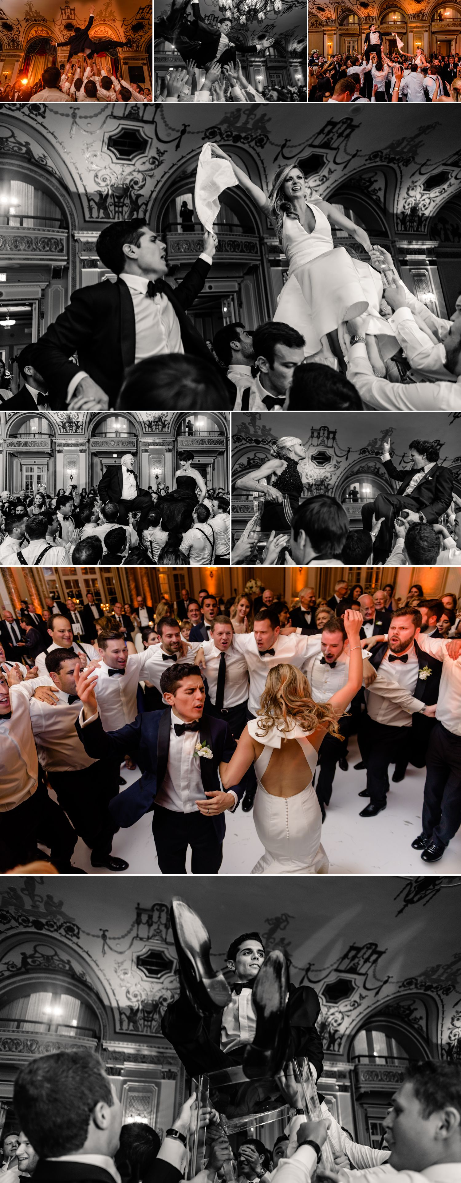 candid moments during the horah at a jewish wedding in the ballroom at the fairmont chateau laurier in ottawa on