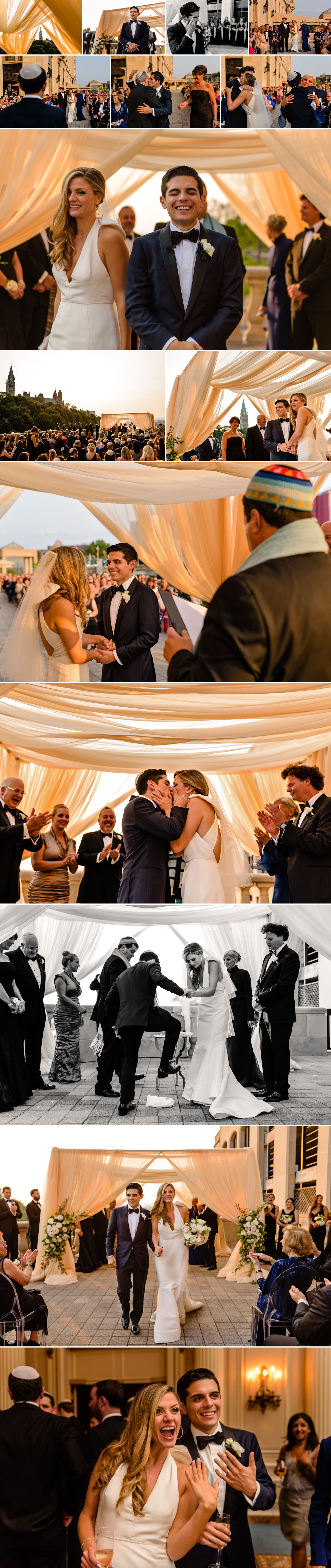 candid moments from a jewish wedding ceremony on the terrace of the fairmont chateau laurier in ottawa on