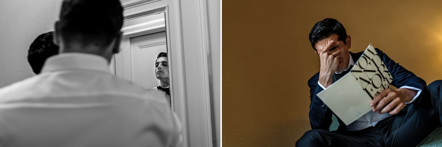 groom getting ready for his jewish wedding at the fairmont chateau laurier in ottawa on