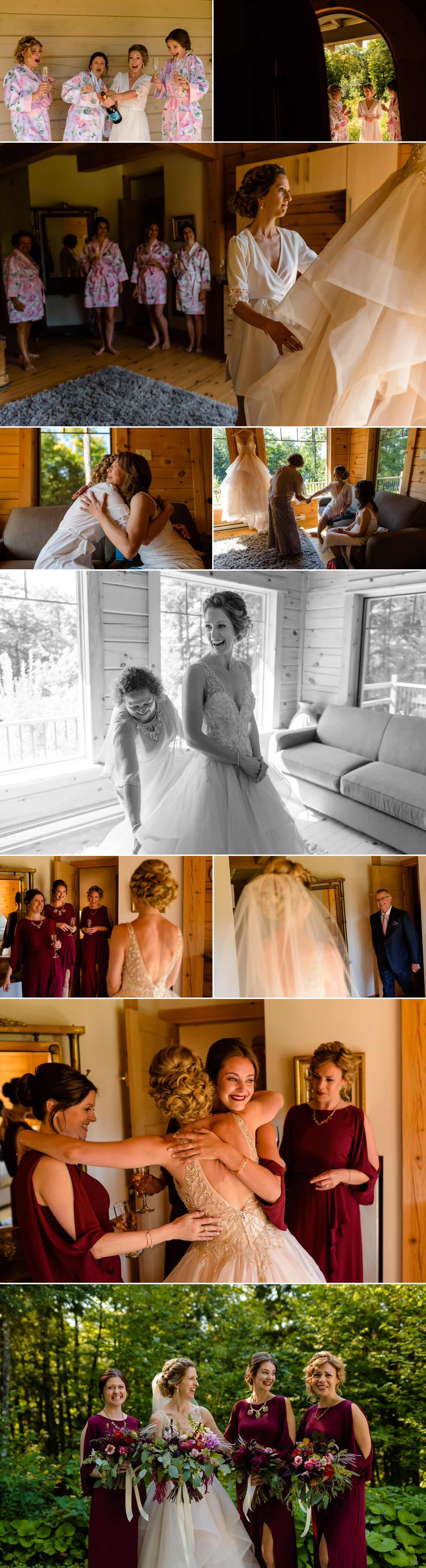 bride and bridemaids getting ready in the guest house at a le belvedere wedding in wakefield quebec