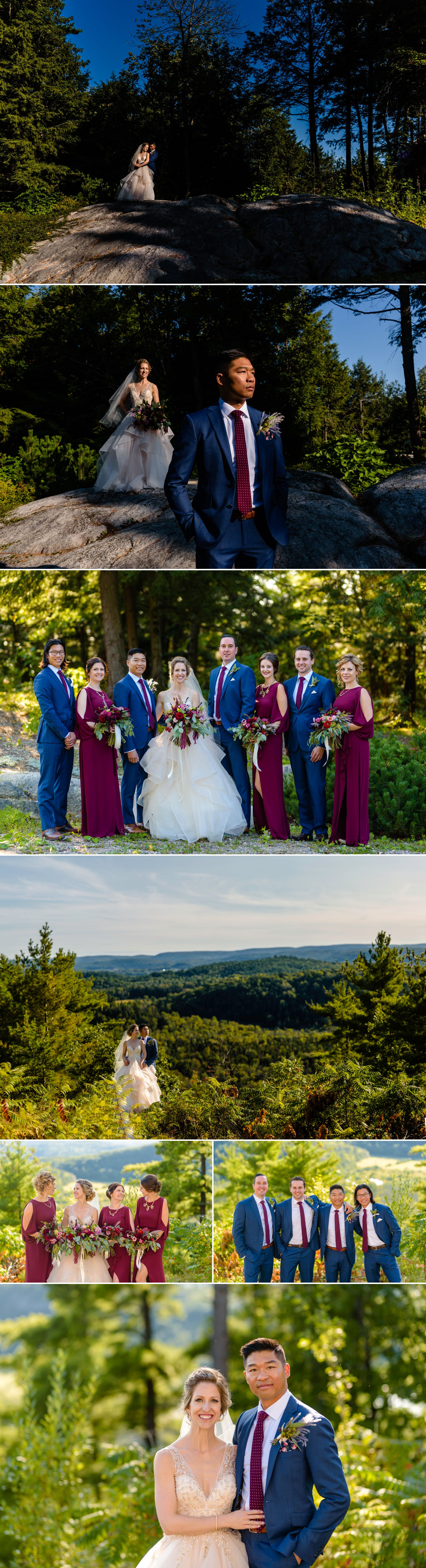 wedding party portraits at a le belvedere wedding in wakefield quebec
