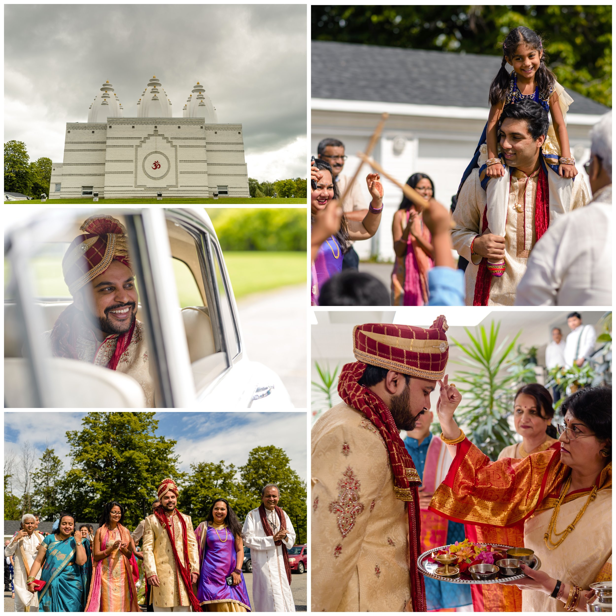 Indian groom arriving at his wedding ceremony