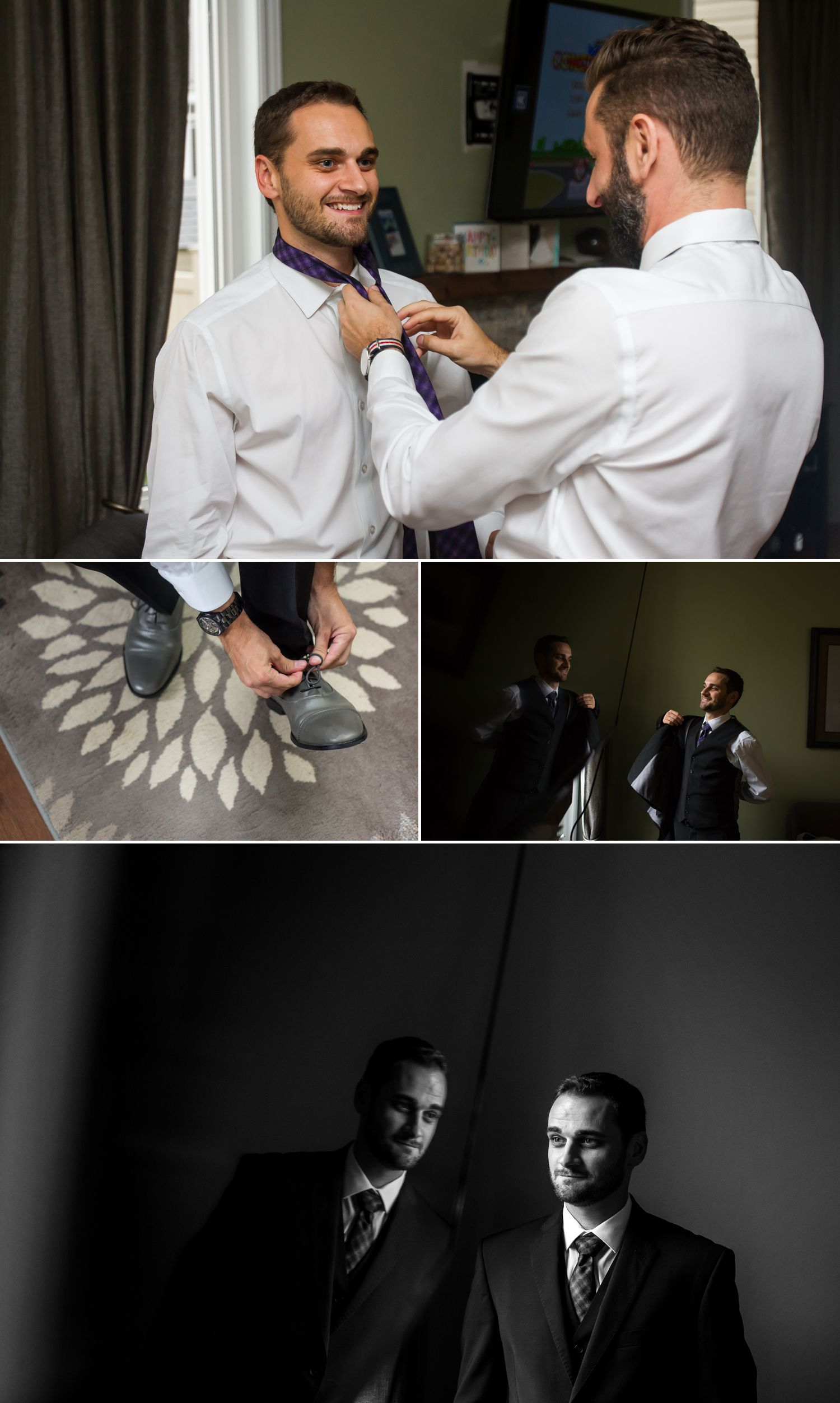 The groom and his groomsmen getting ready at home in Ottawa