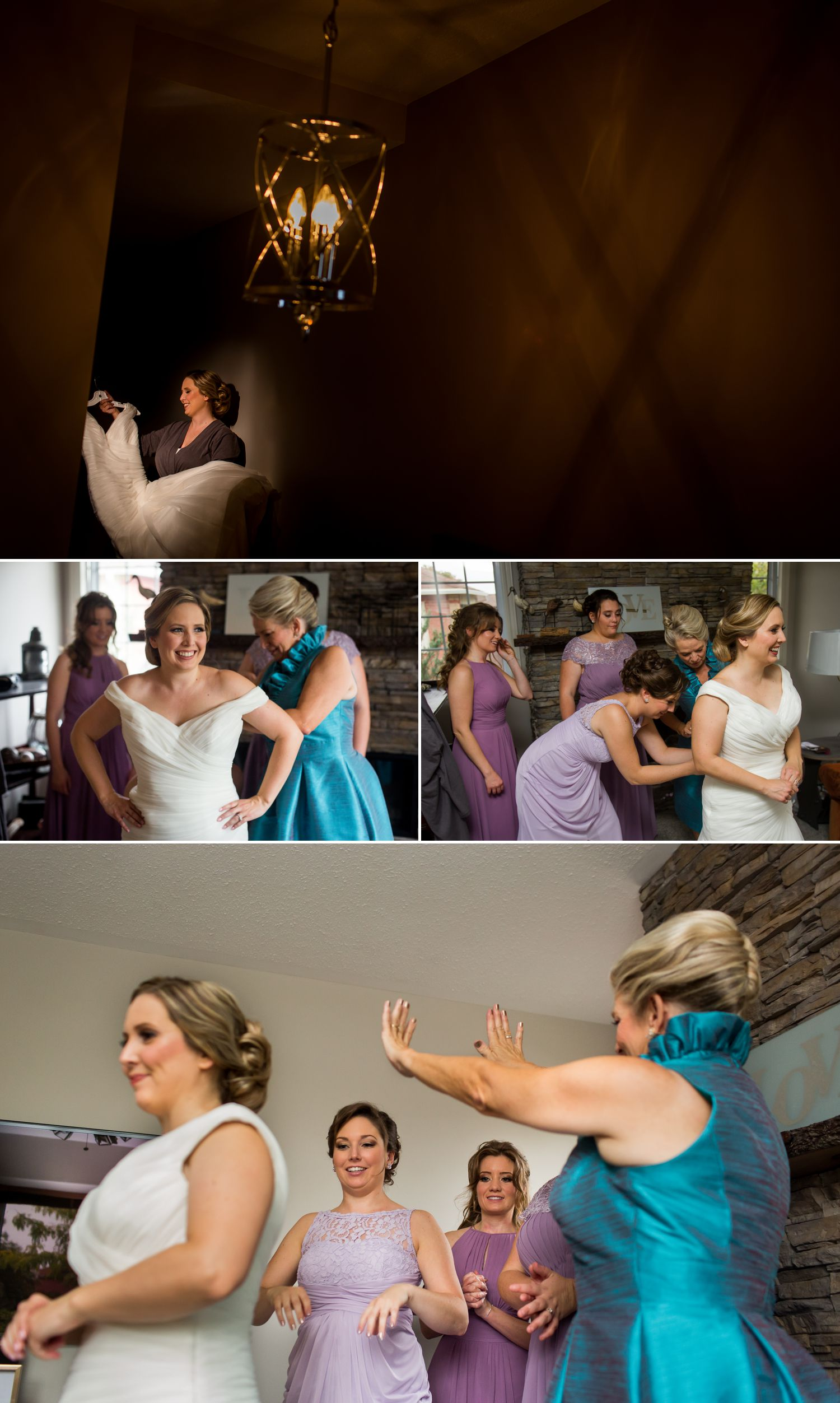 The bride with her bridesmaid and mother getting ready at their home in Ottawa