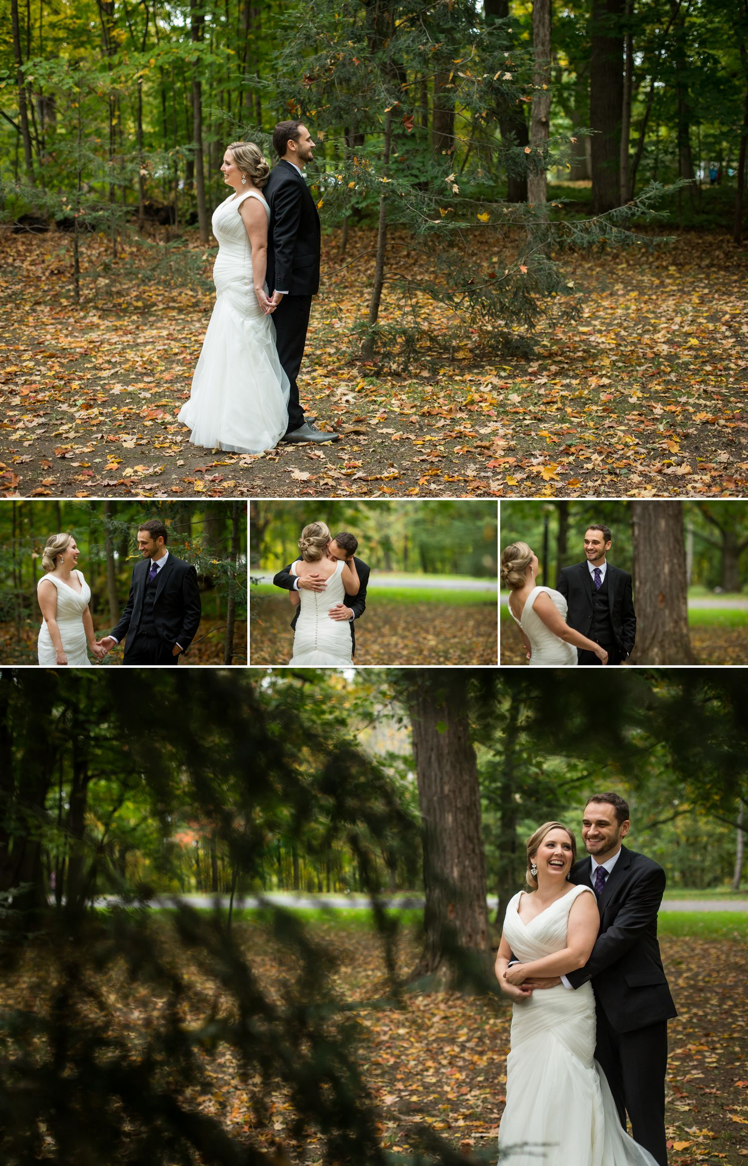 The bride and groom during their first look outside at Rockcliffe Park in Ottawa
