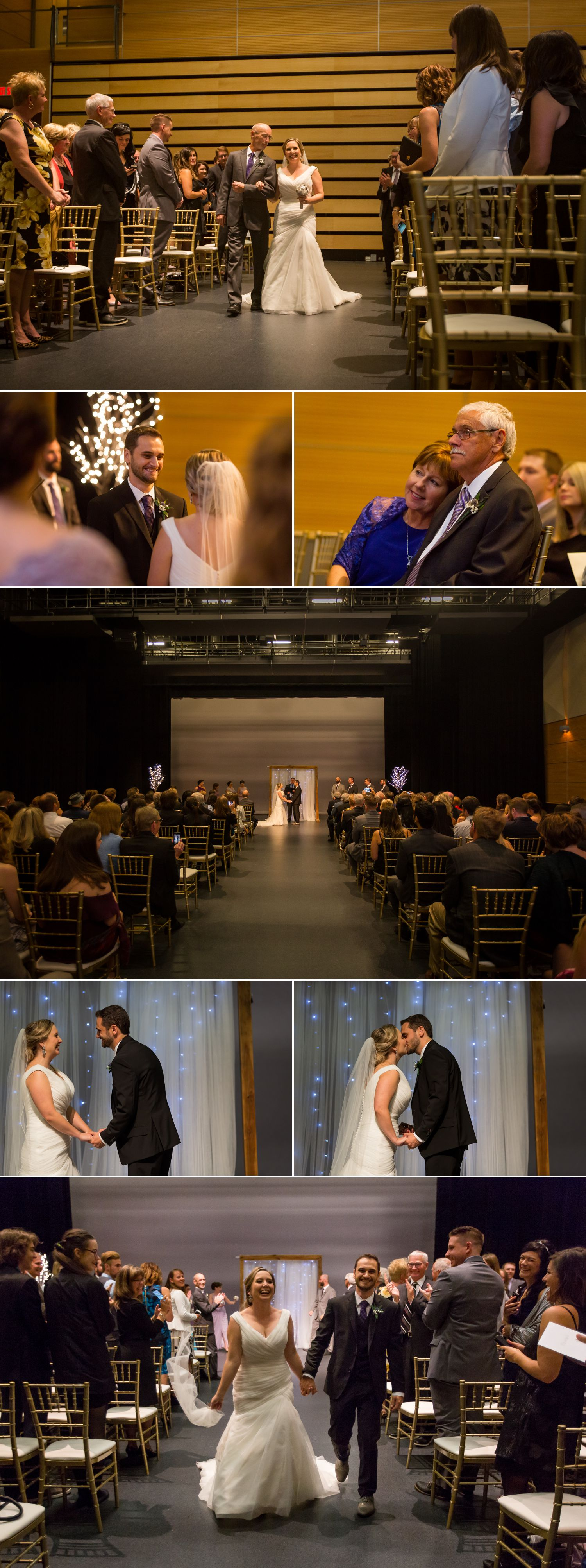A wedding ceremony taking place inside the Canadian Aviation and Space Museum in downtown Ottawa