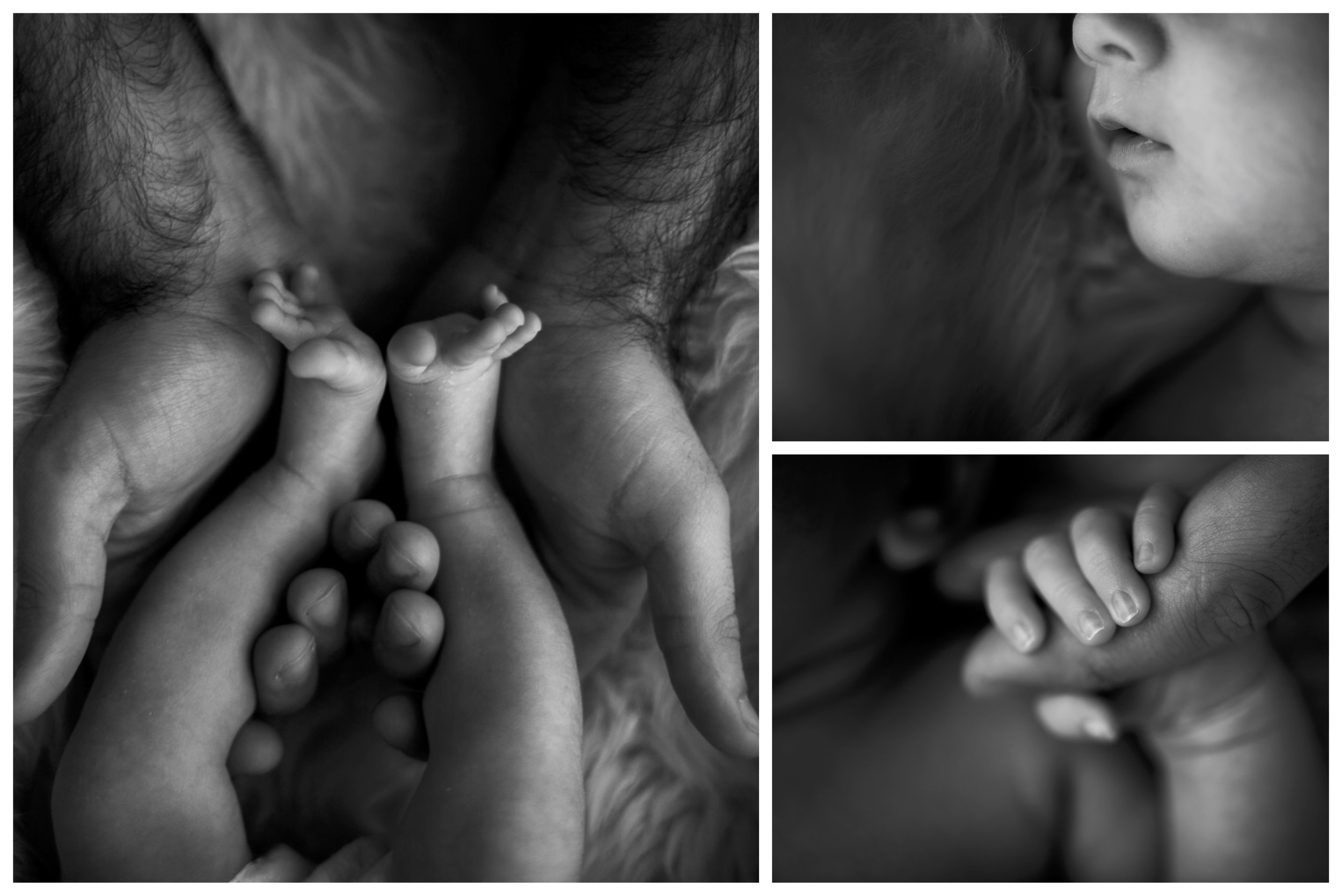 a collage of photographs of an newborn baby girl