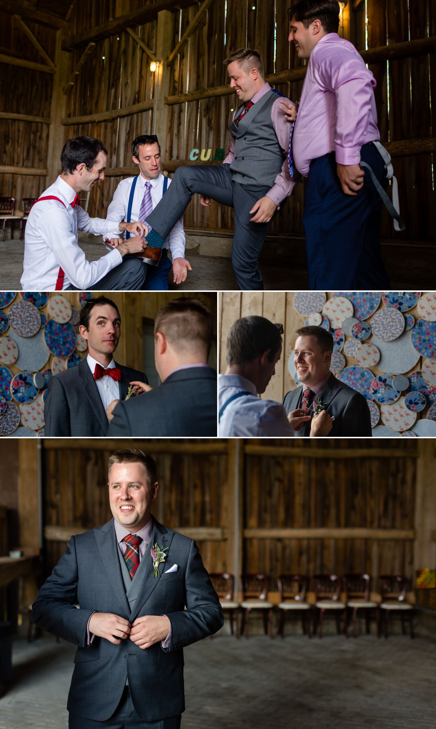 The groom and his groomsmen getting ready at Haymow Farm in Ottawa