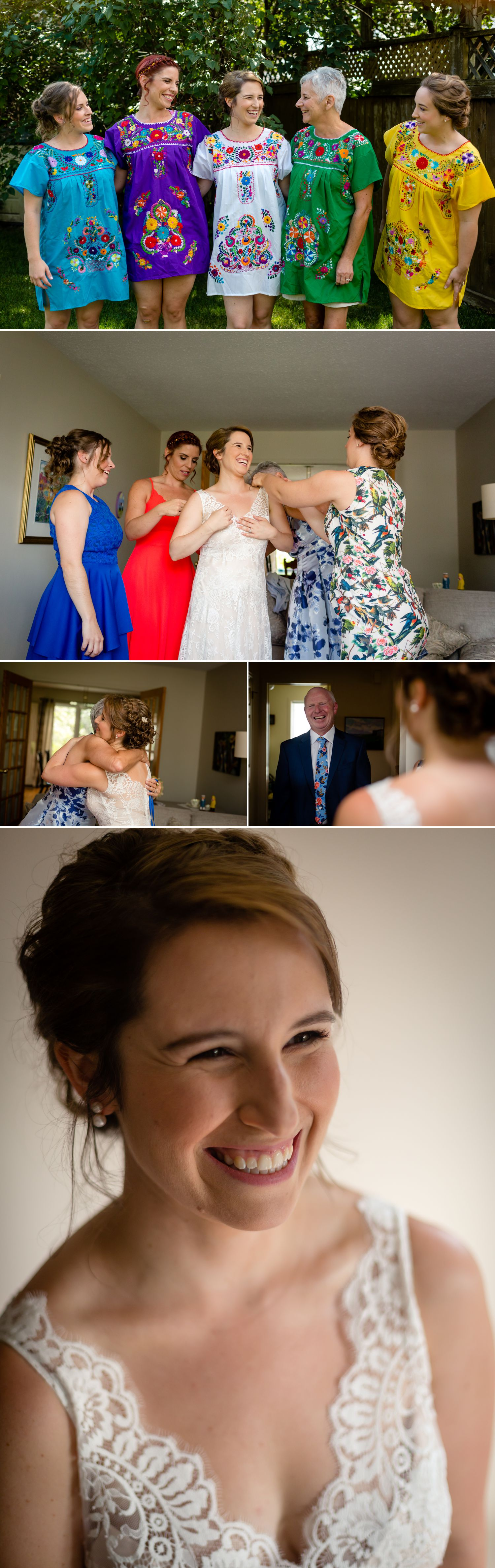 The bride with her bridesmaids and family getting ready at their home in Ottawa