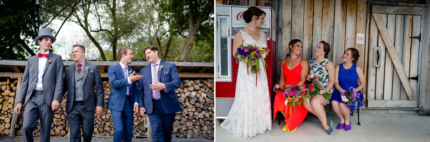 Portraits of the Bride and groom and their wedding party taken outside at Haymow Farm in Ottawa
