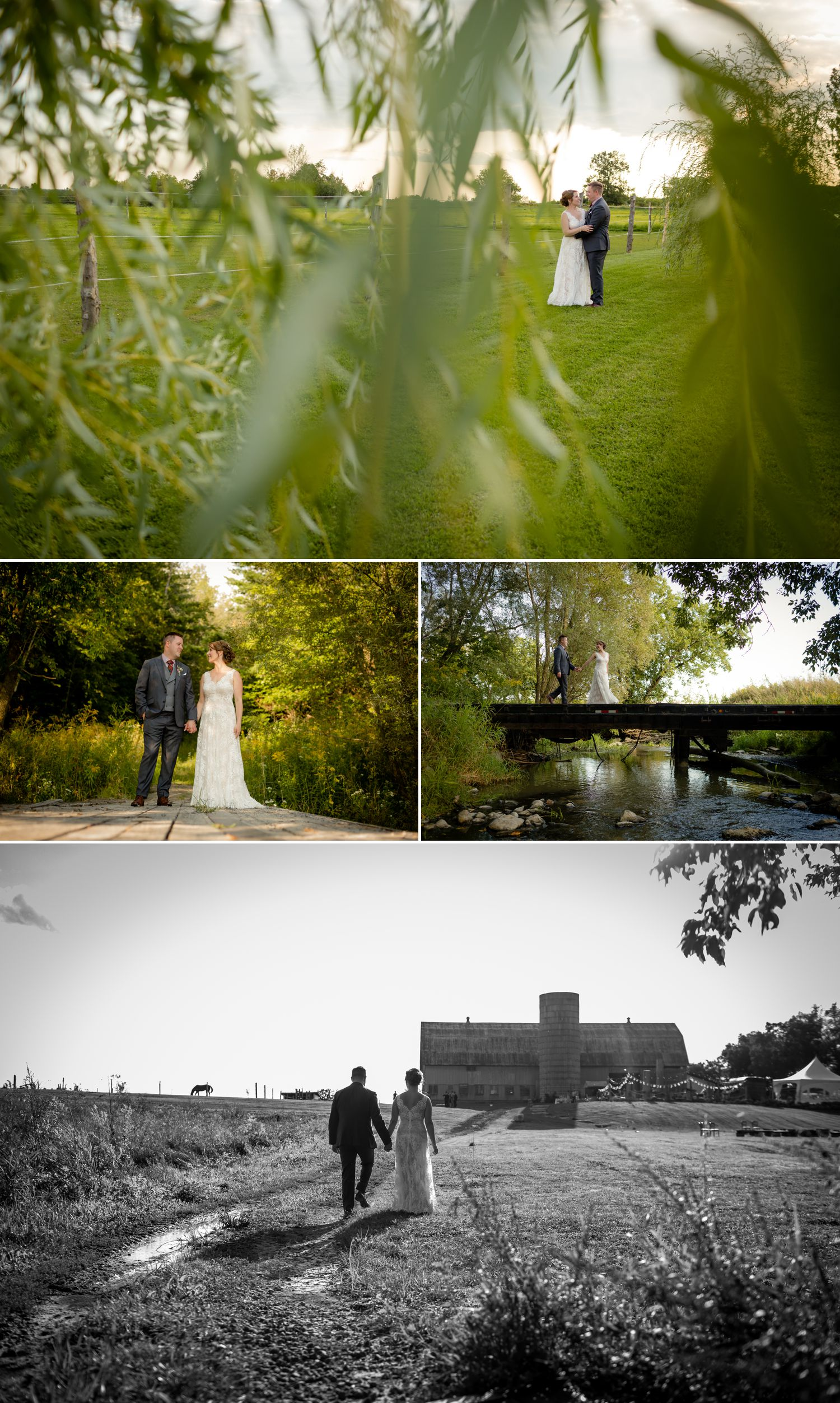 Portraits of the bride and groom outside on the grounds of Haymow Farm in Ottawa