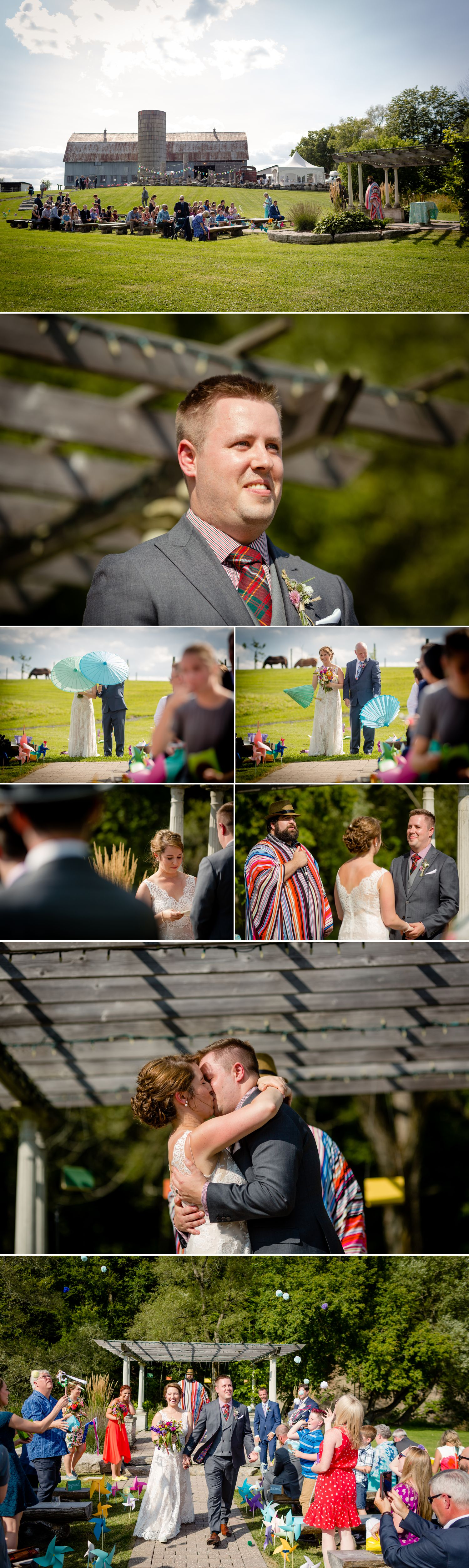 A wedding reception taking place outside on a summer day at Haymow Farm in Ottawa