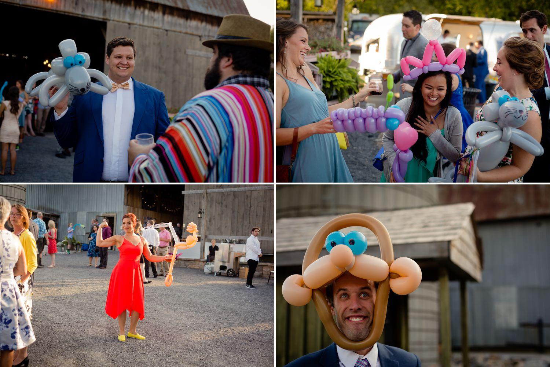Wedding reception games and balloon animals at the Haymow Farm in Ottawa
