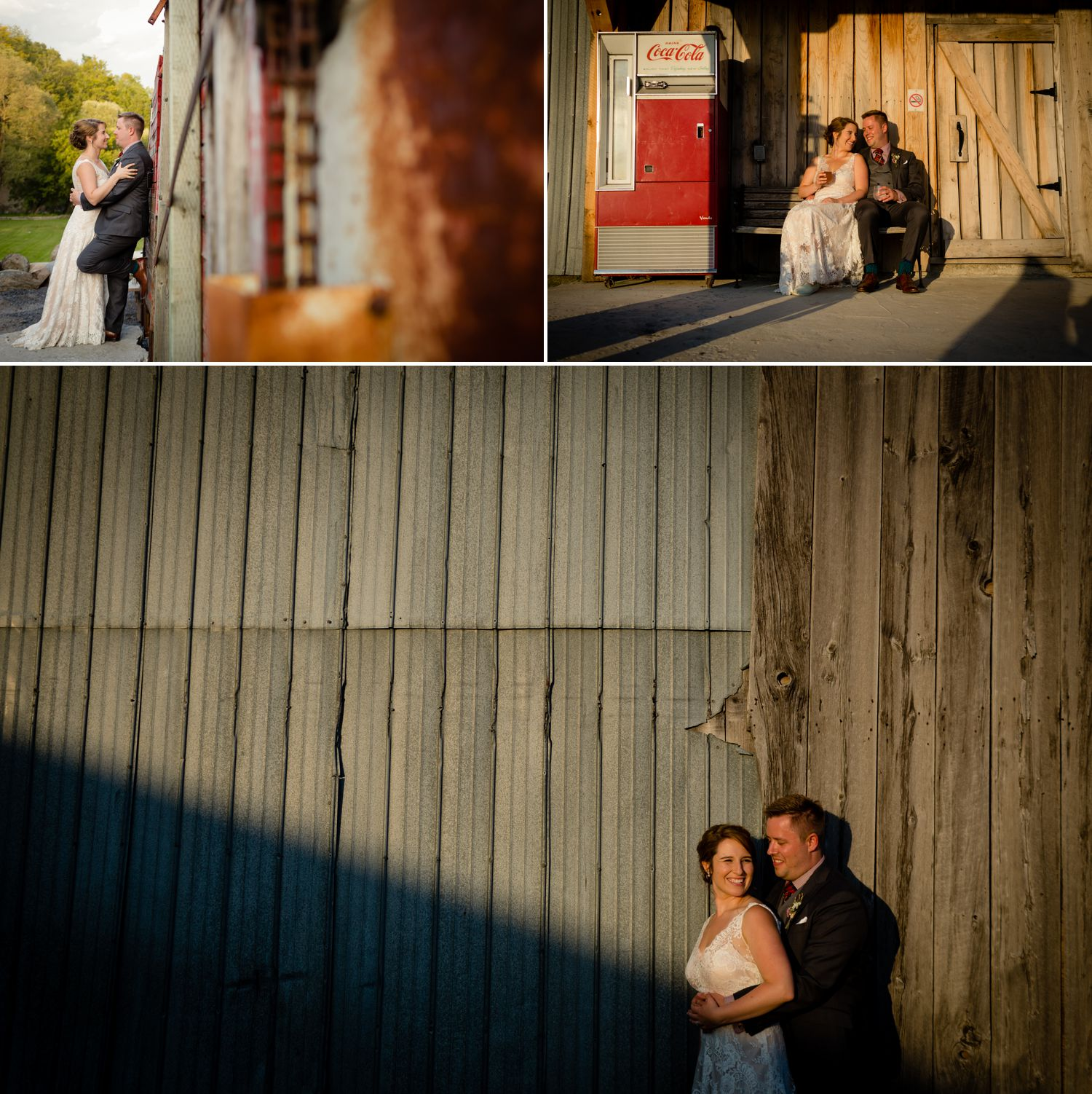 Evening portraits of the bride and groom taken outside the Haymow Farm in Ottawa