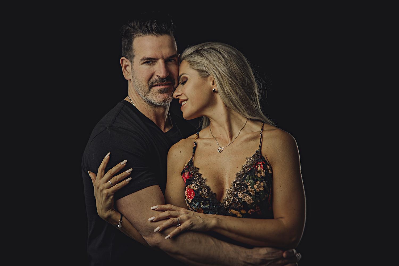 in studio couples portrait on a black background ottawa in studio portrait photographer