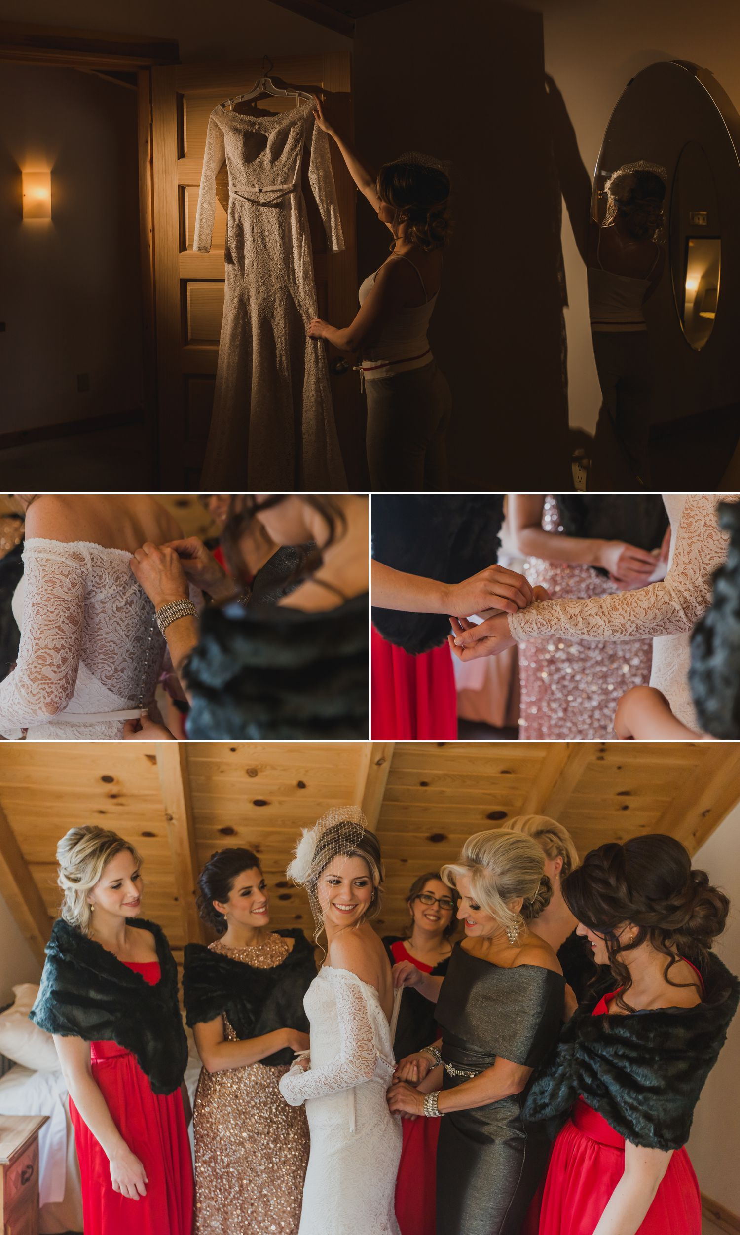 The bride with her bridesmaids and family getting ready at the Le Belvedere Guesthouse