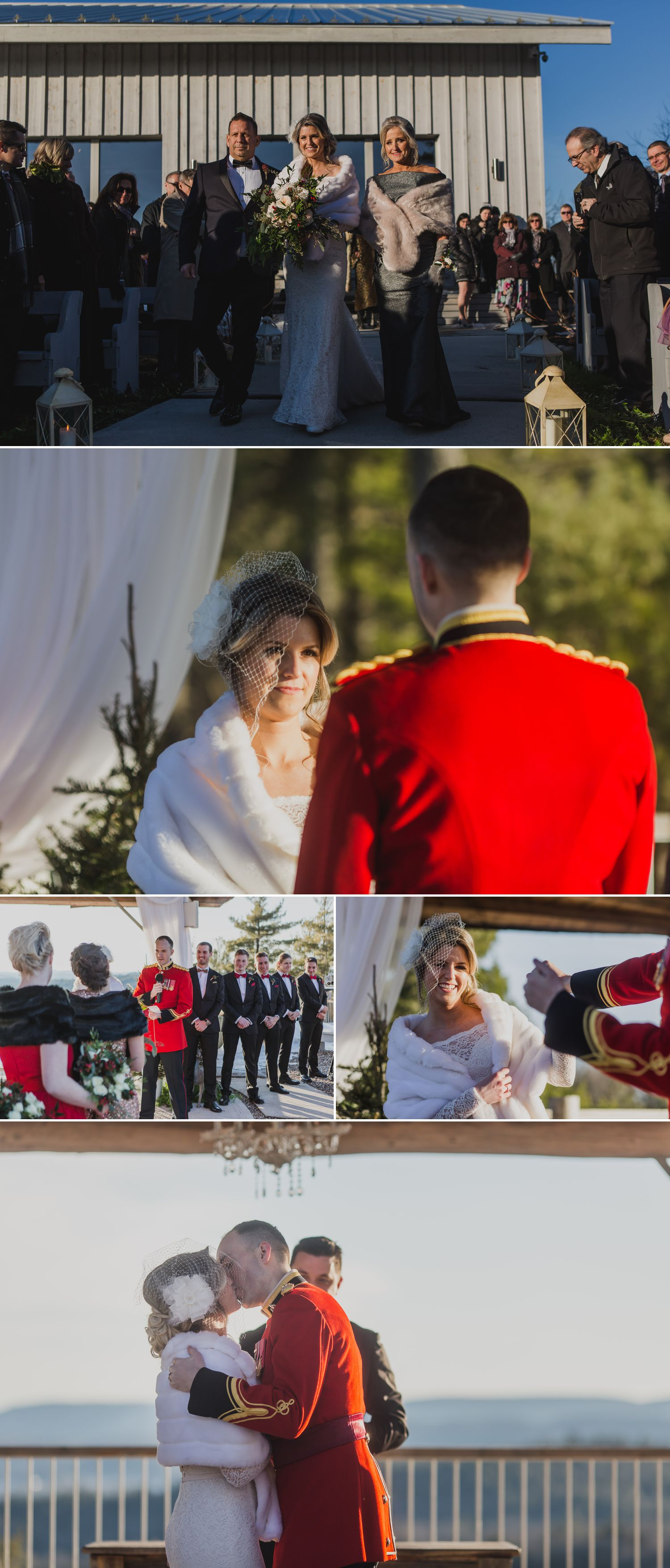 A winter wedding ceremony outside at Le Belvedere in Wakefield Quebec