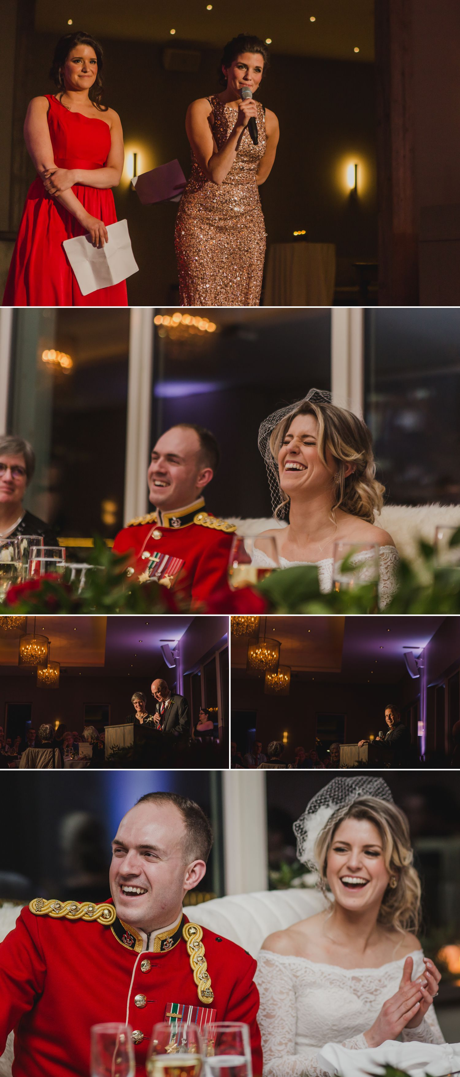 The bride and groom during their wedding speeches during their reception at Le Belvedere in Wakefield Quebec