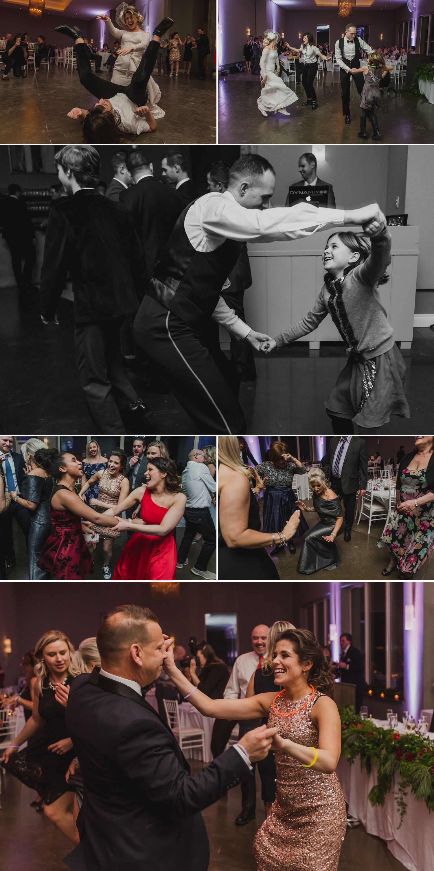 The bride and groom dancing with their guests during their wedding reception at Le Belvedere in Wakefield Quebec