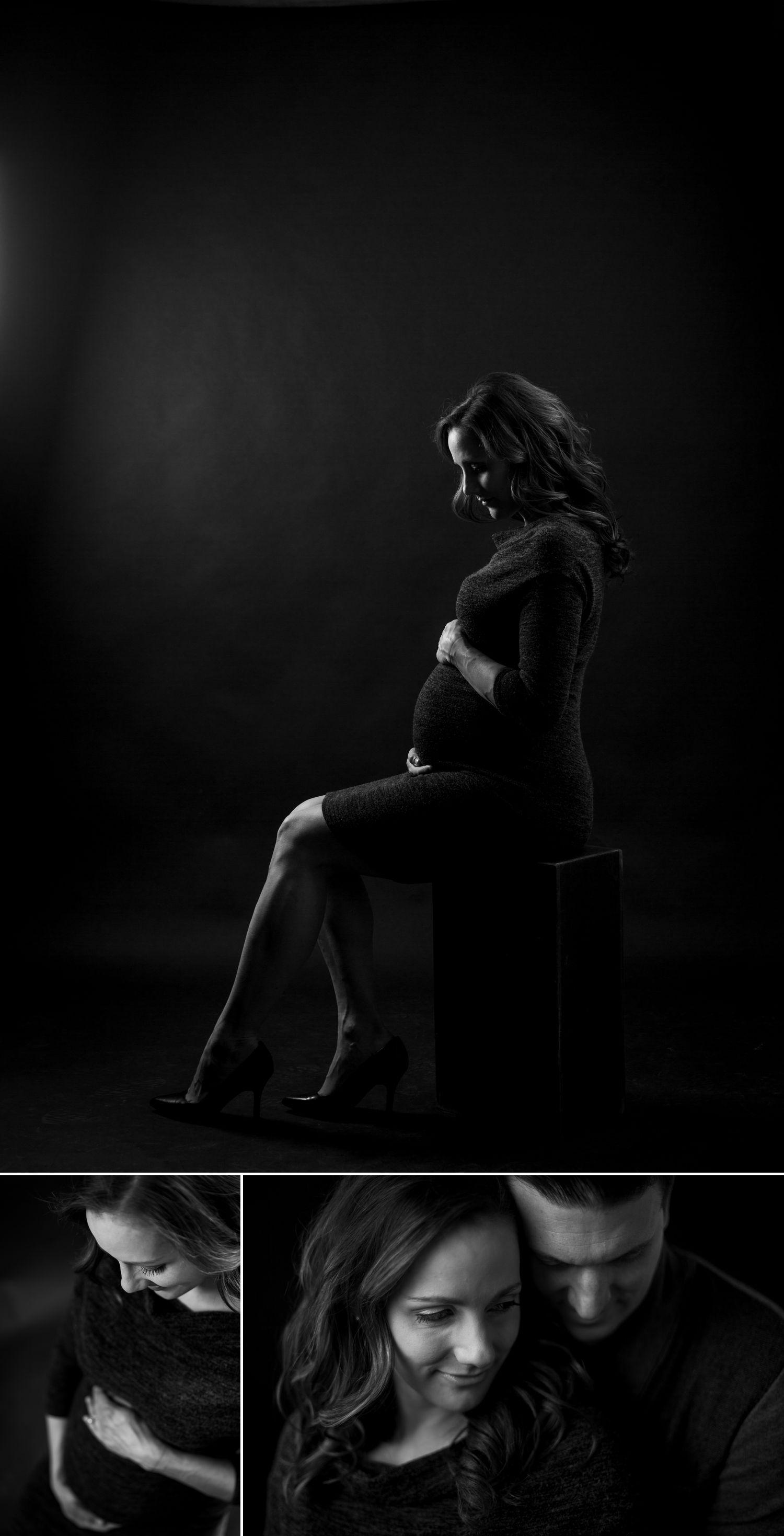 black and white maternity portrait in ottawa