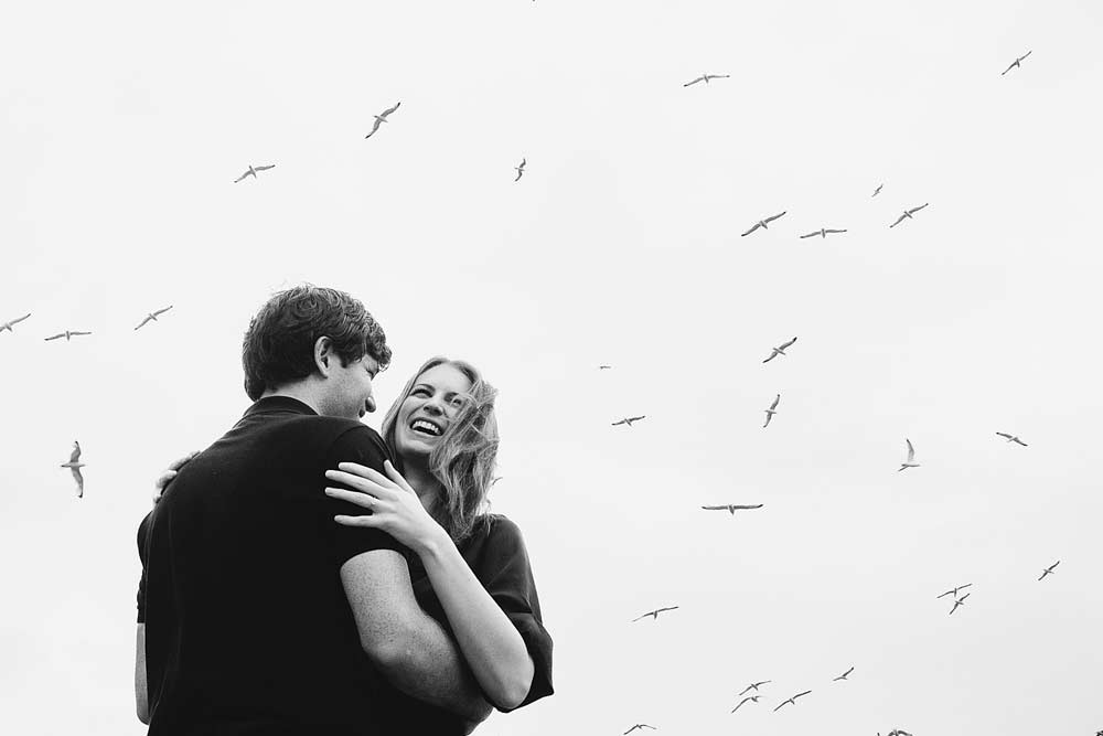 artistic black and white engagement photo