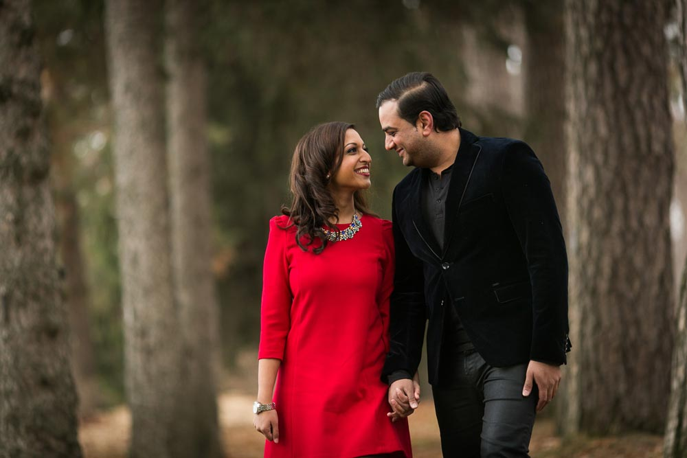a photograph of a classy indian couple during their engagement session
