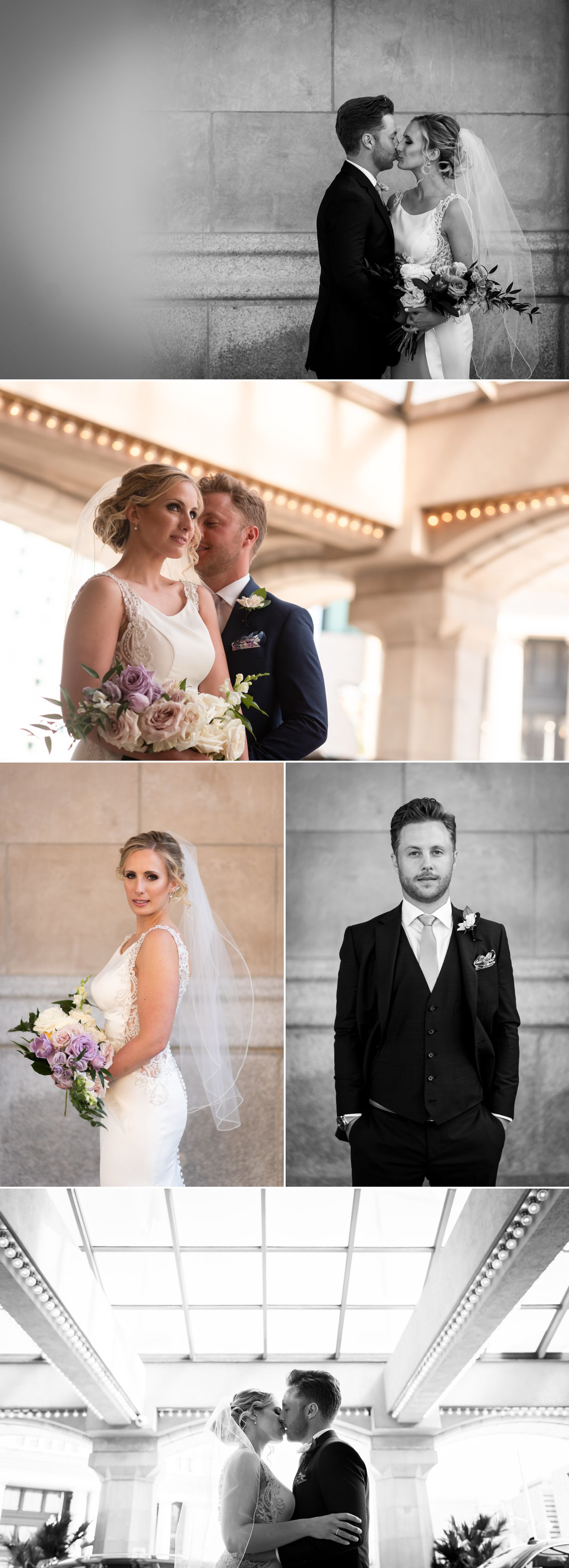 Portraits of the bride and groom taken in front of the Chateau Laurier in downtown Ottawa