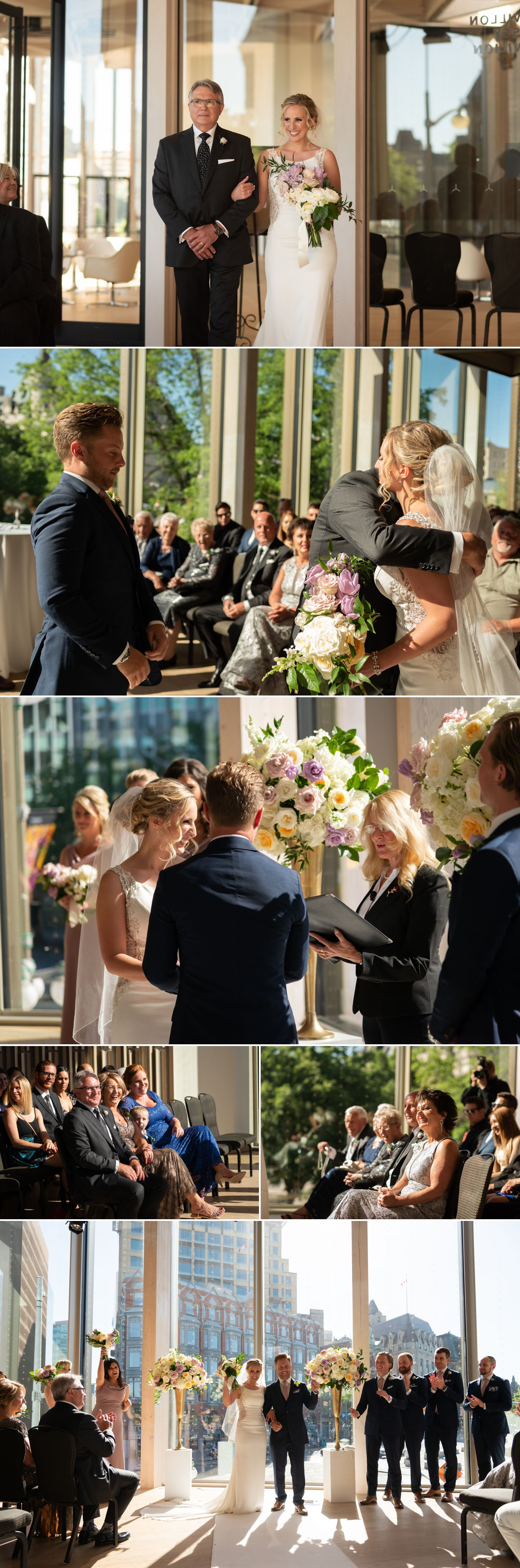 A wedding ceremony taking place in The National Arts Centre in downtown Ottawa