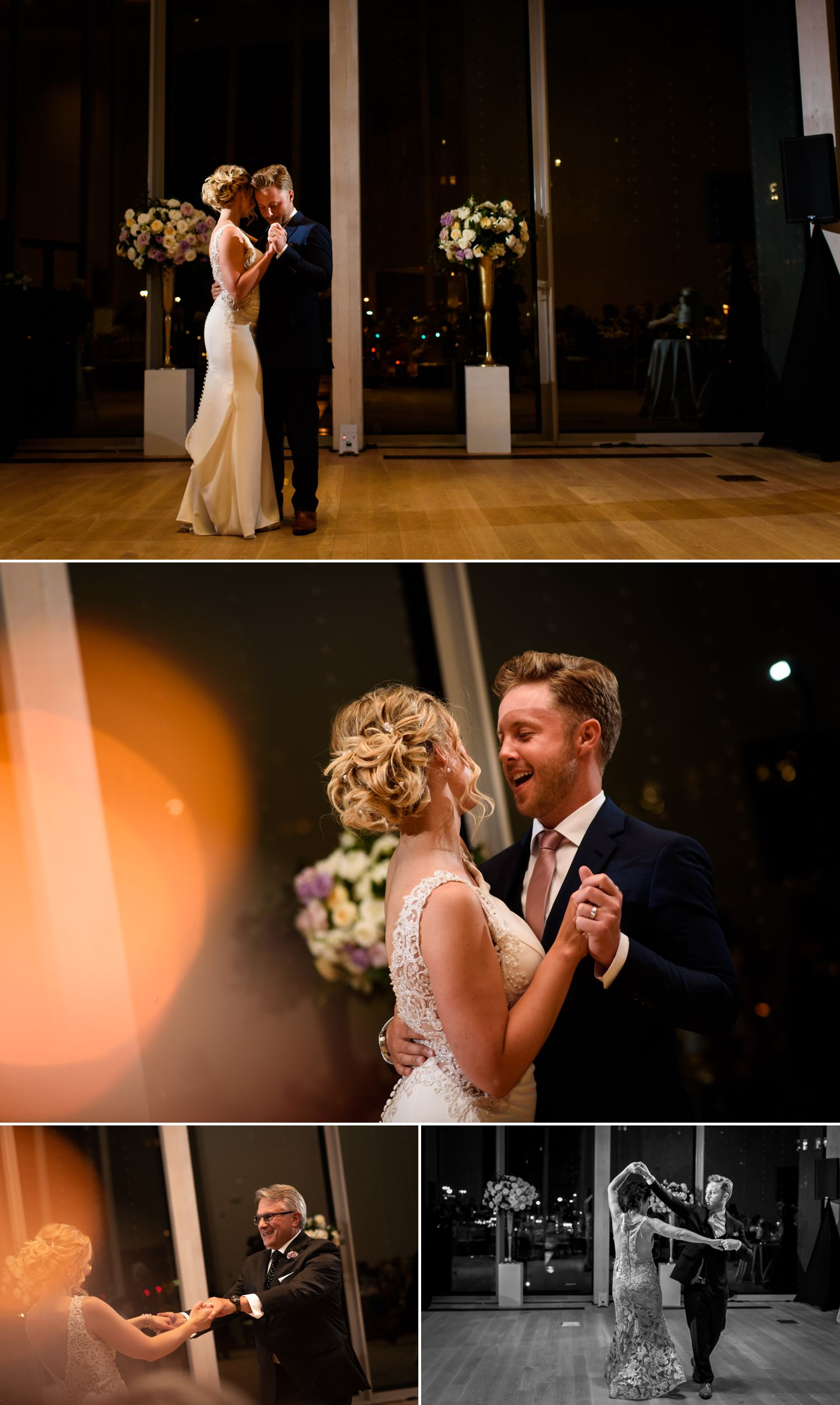 The brie and groom during their first dances at their wedding reception help at The National Arts Centre in downtown Ottawa