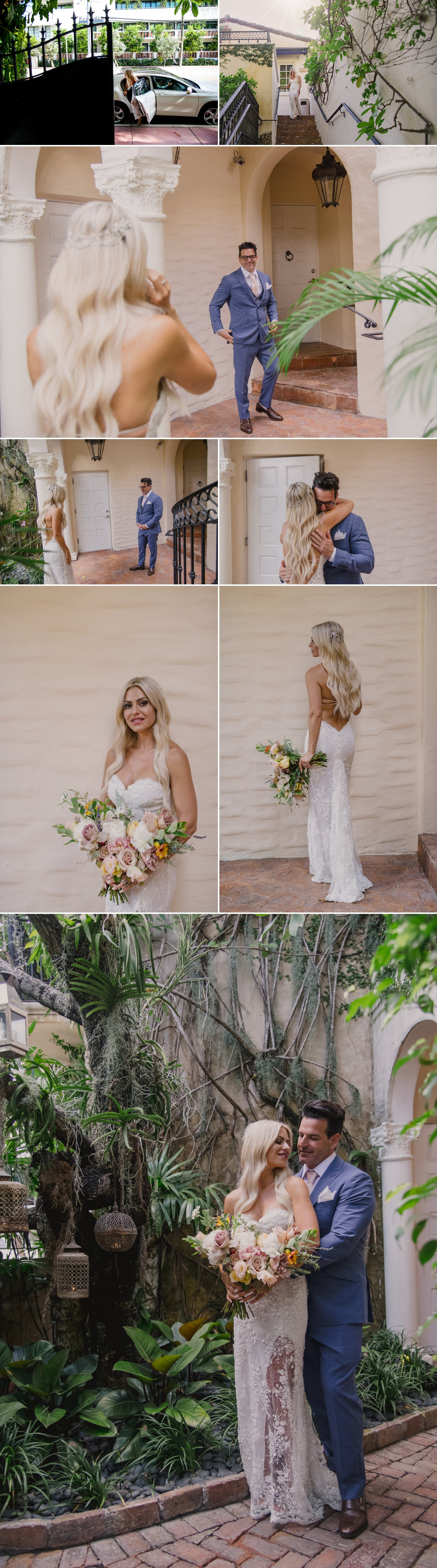wedding couple having first look before wedding ceremony in miami