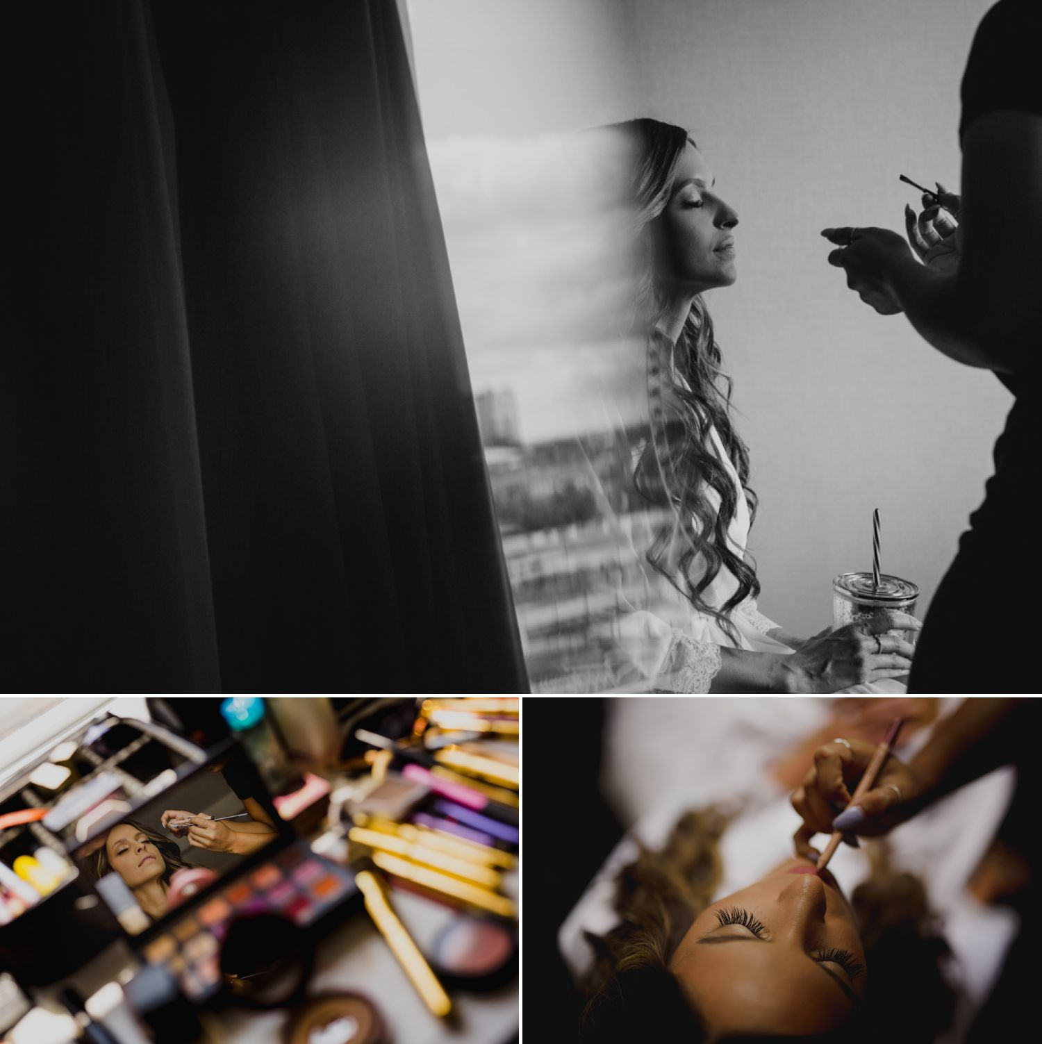The bride getting her make-up done before her Niagara-on-the-Lake wedding