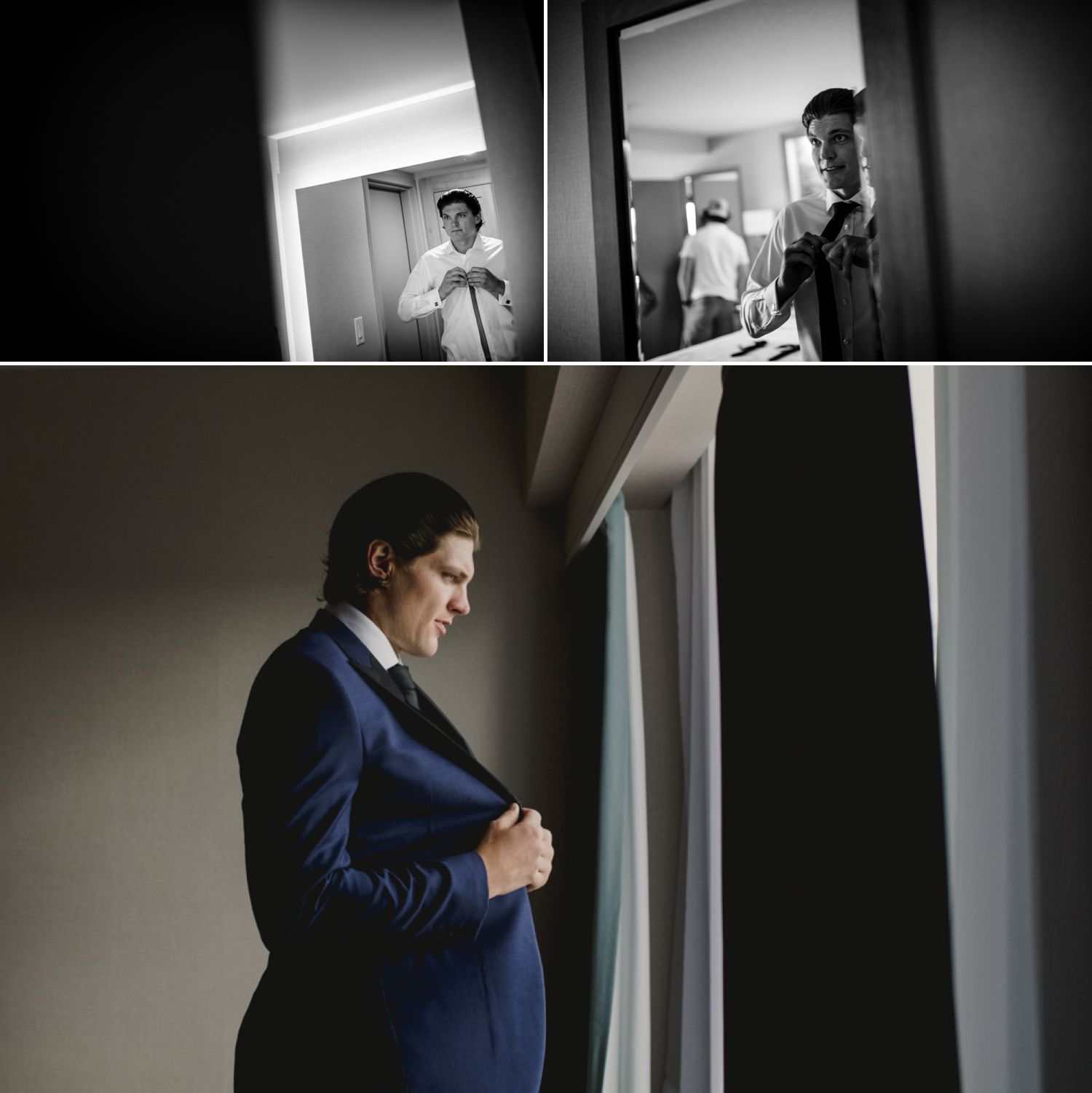 The groom getting ready before his Niagara-on-the-Lake wedding