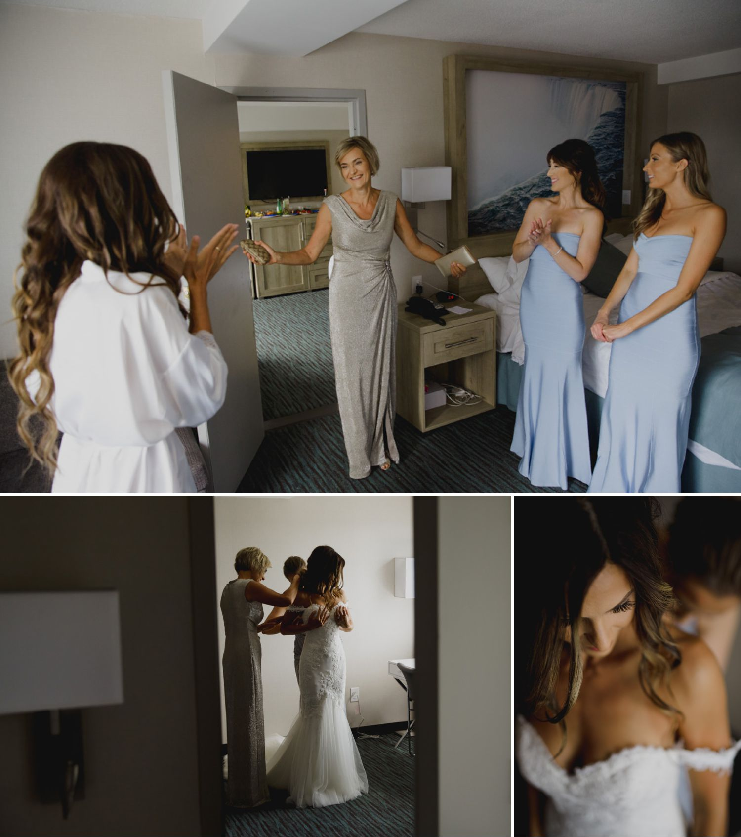 The bride with her mother and bridesmaids getting ready before the wedding ceremony at Niagara-on-the-Lake