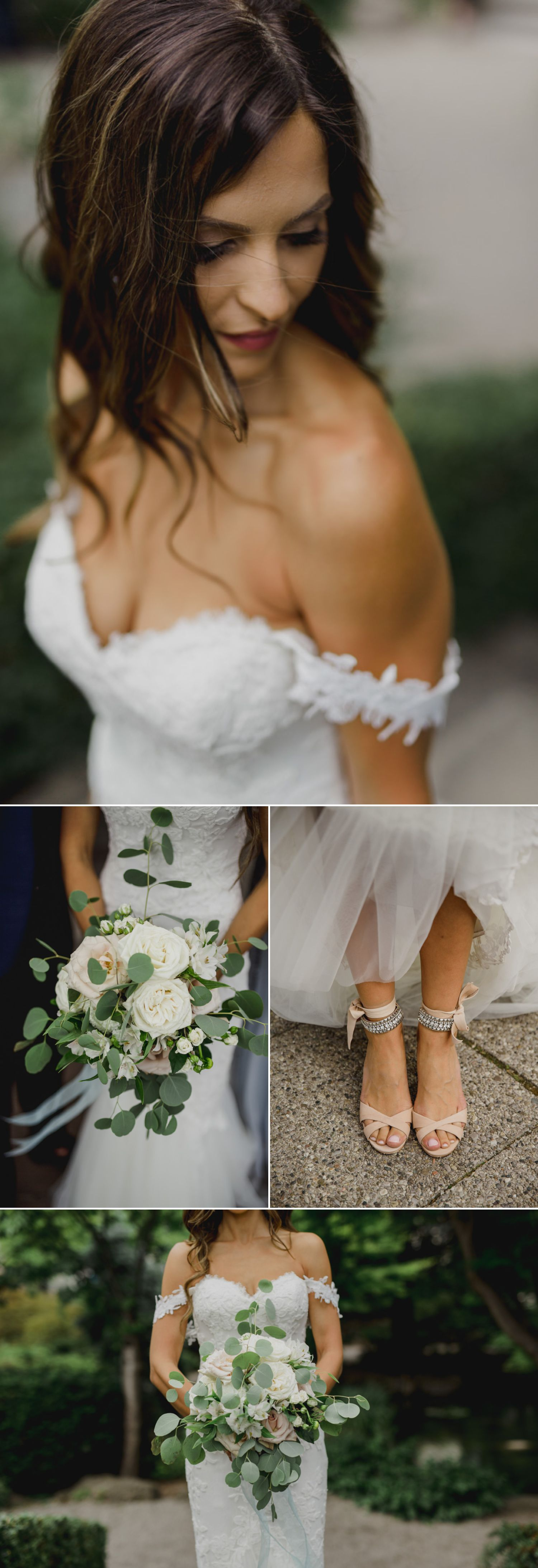 Portraits of the bride showcasing her dress and other details
