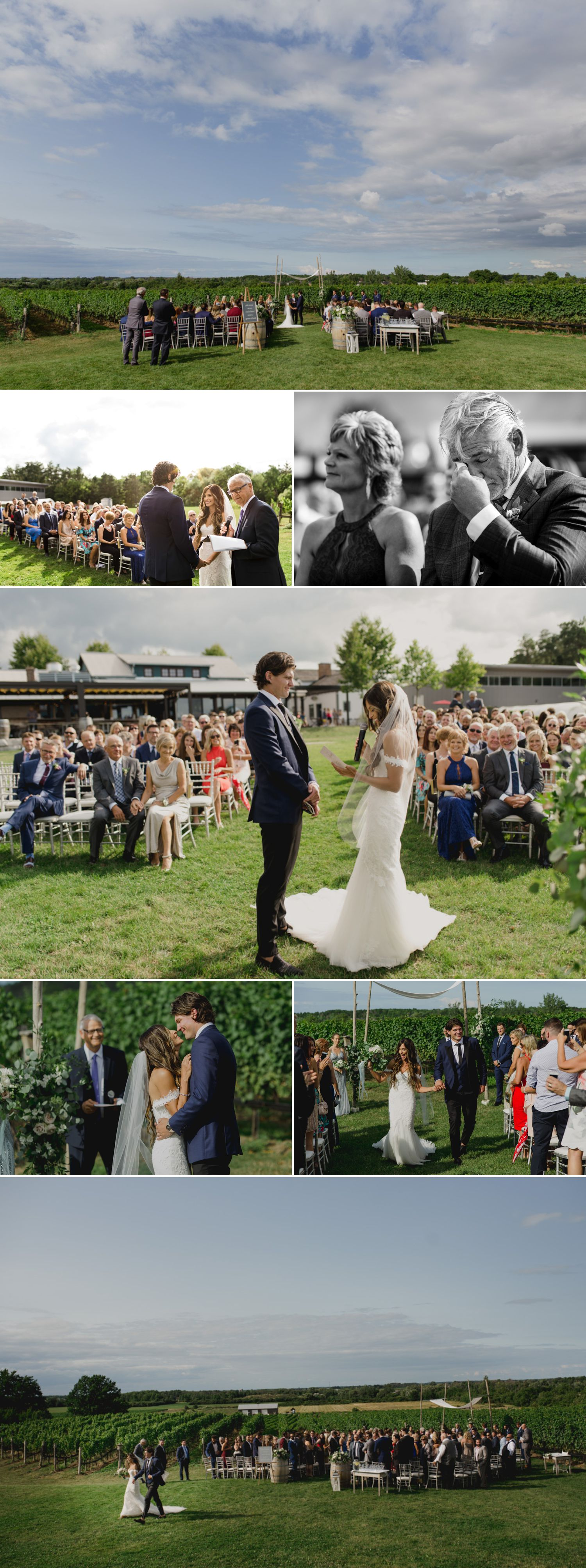 A wedding ceremony taking place at The Ravine Vineyard Estate Winery in Niagara-on-the-Lake