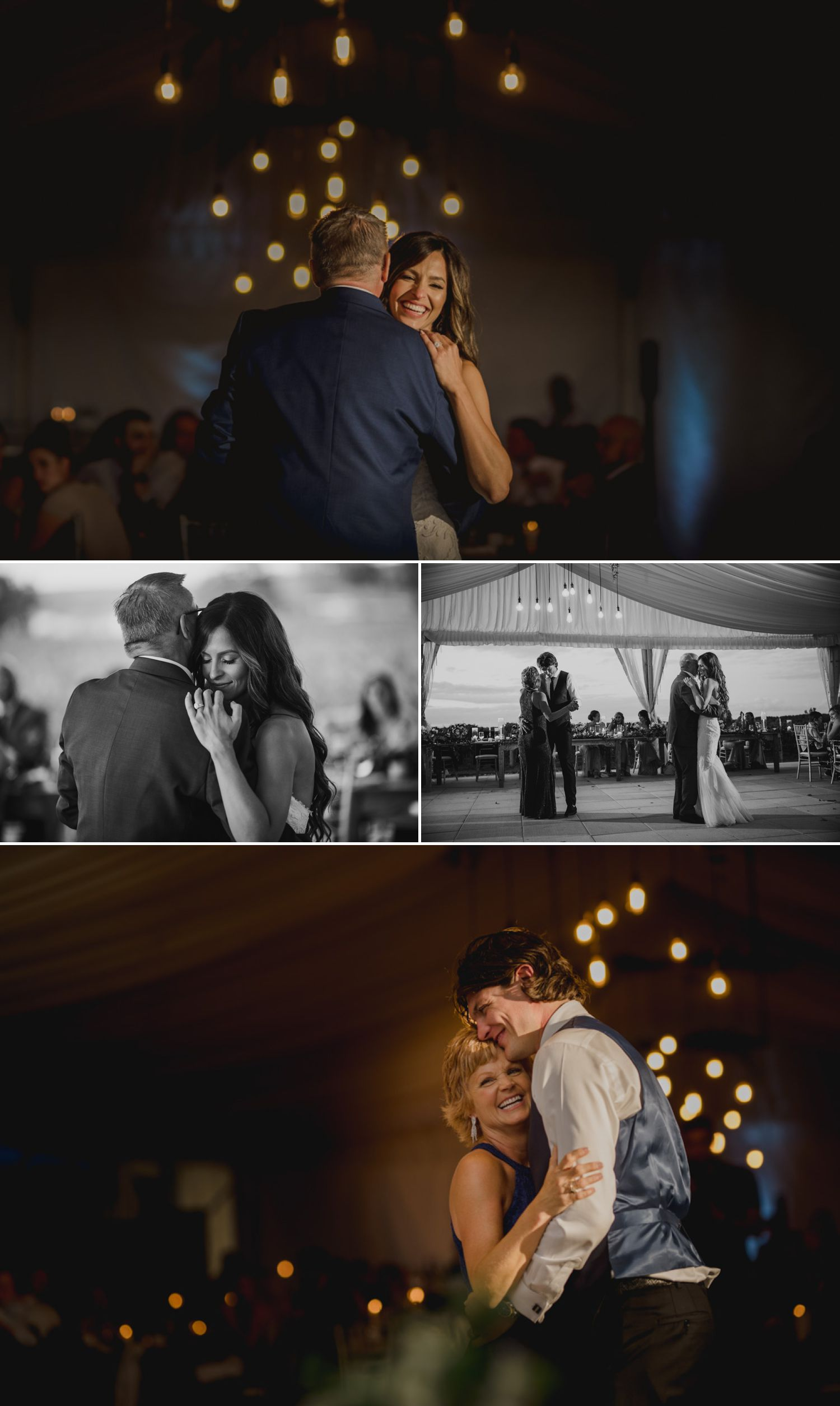 The bride and groom during their first dances with their parents at their Ravine Vineyard Estate Winery wedding reception