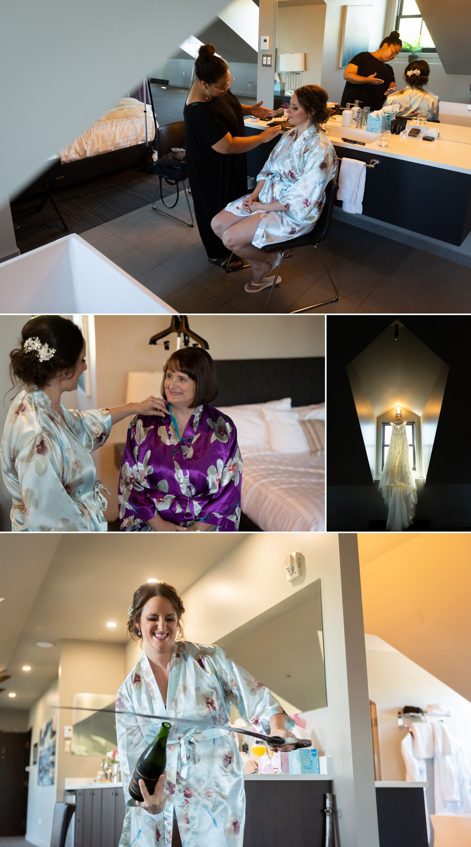 The bride with her bridesmaids and family getting ready at The British Hotel in Gatineau, Quebec