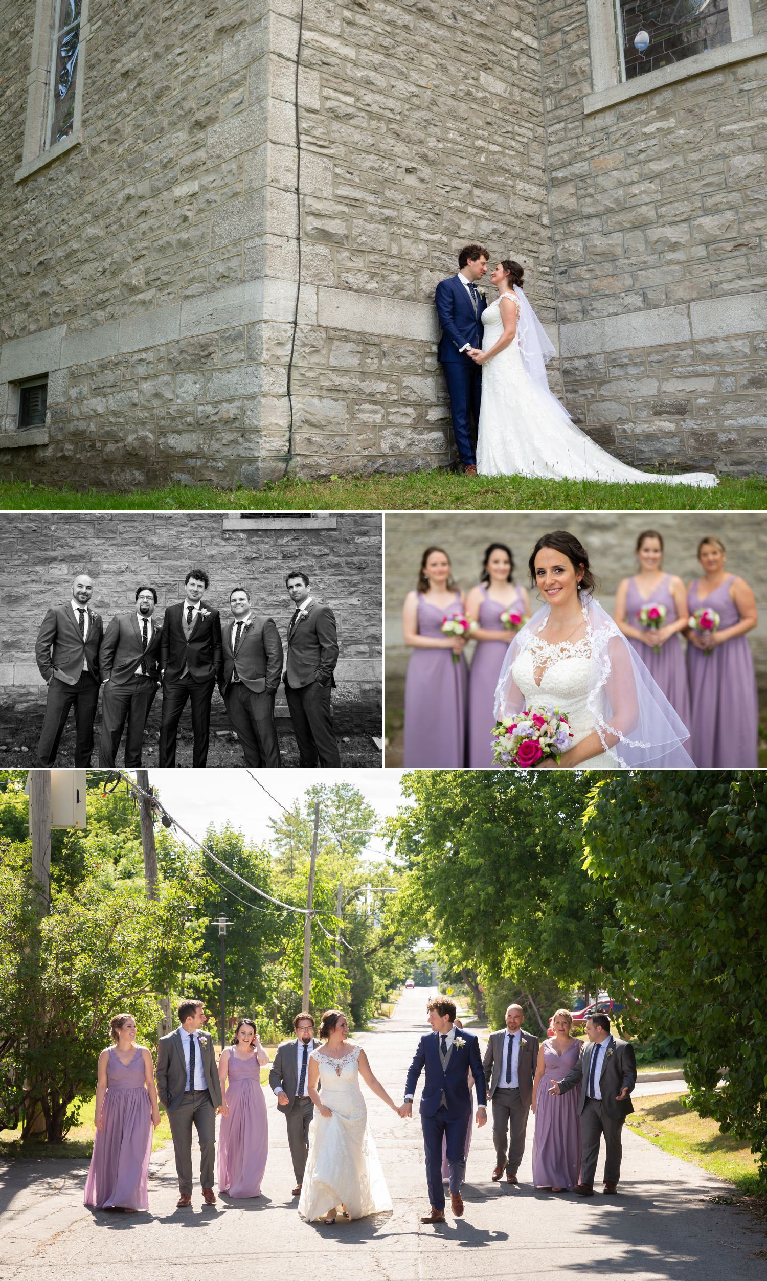 Portraits of the bride and groom and their wedding party taken outside Saint Stephen's Parish in Chelsea, Quebec