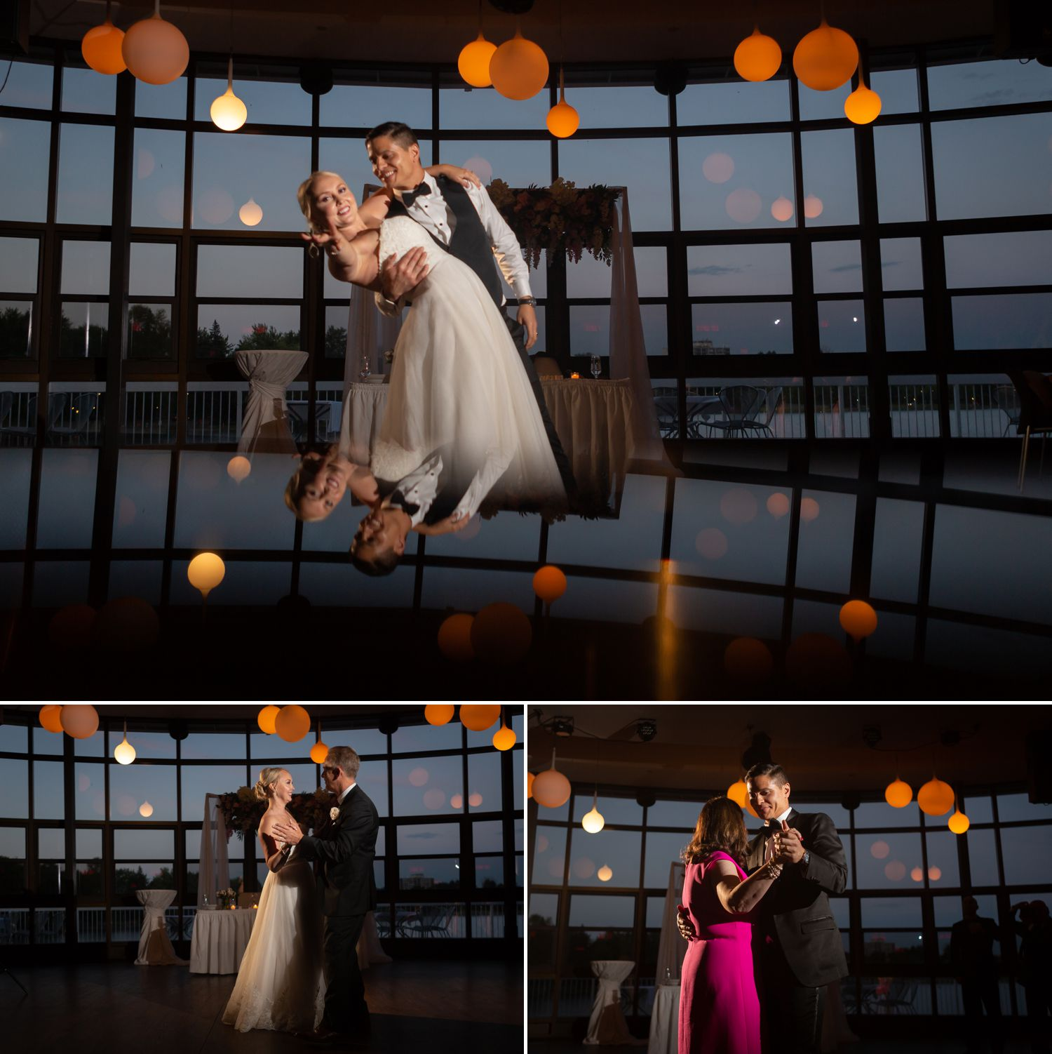 The bride and groom during their first dance at their wedding reception at Lago Bar & Grill in Ottawa
