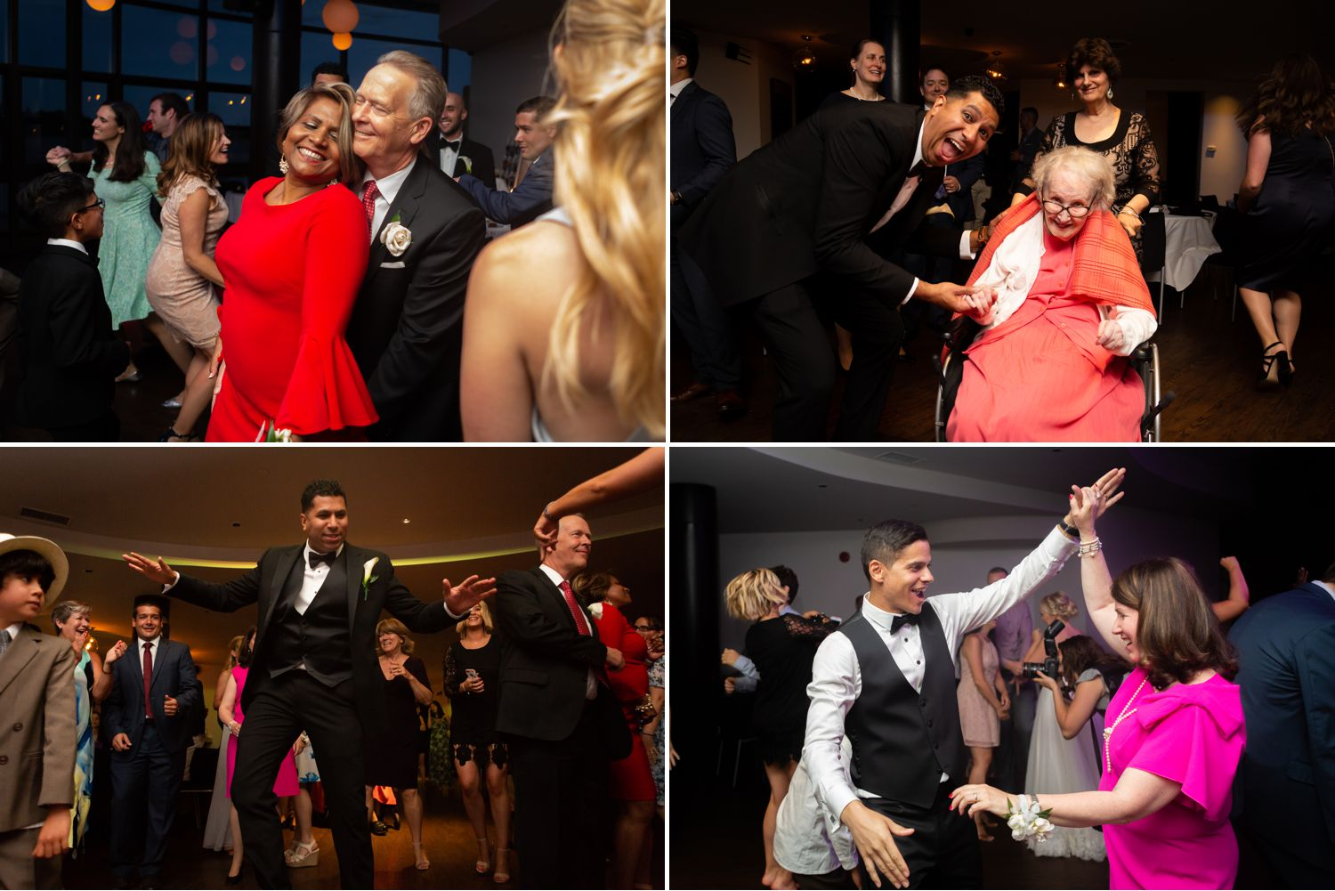 Guests dancing at a wedding reception taking place at Lago Bar & Grill in Ottawa