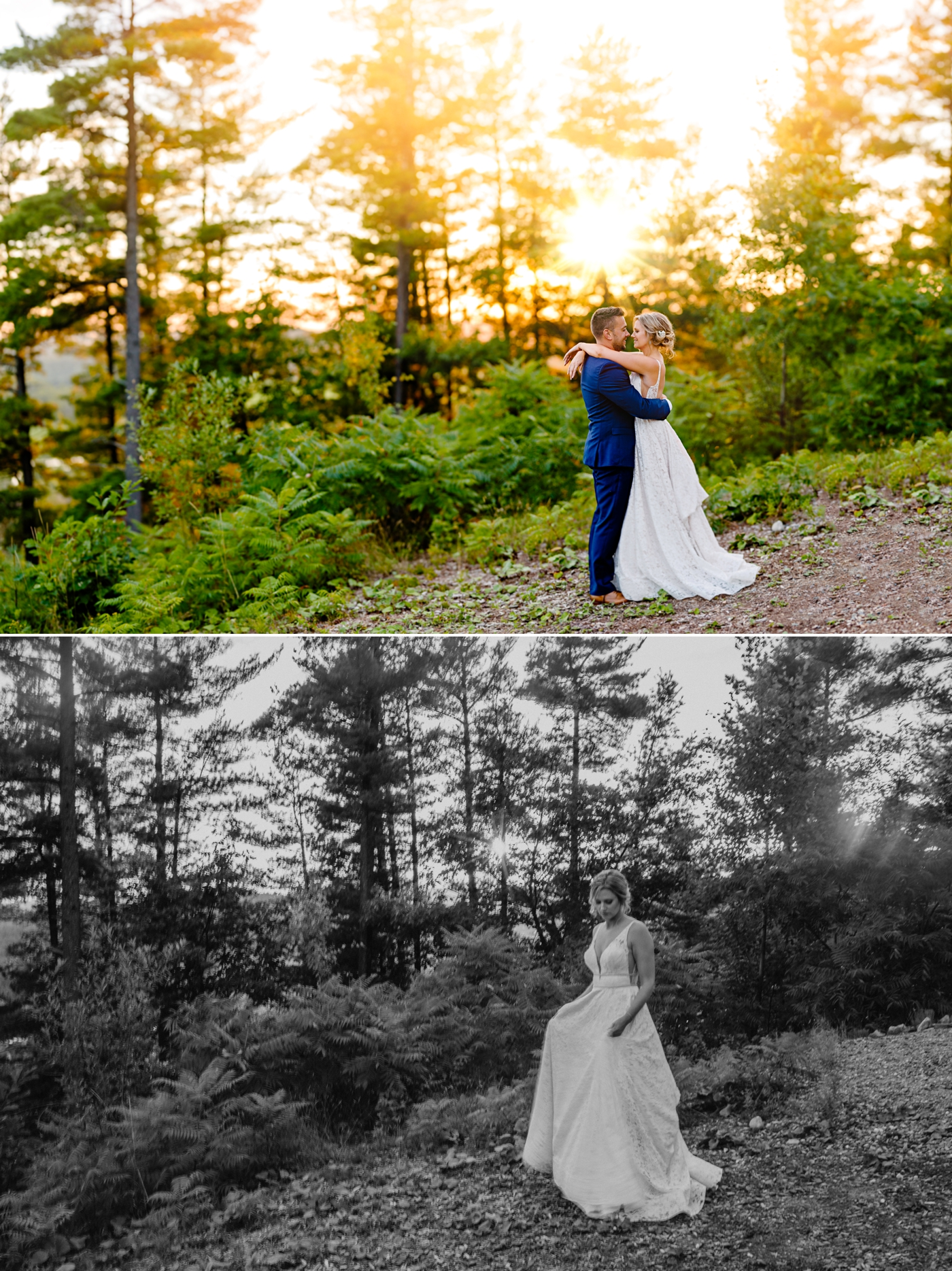 bride and groom portraits at sunset at a le belevedere wedding in wakefield quebec