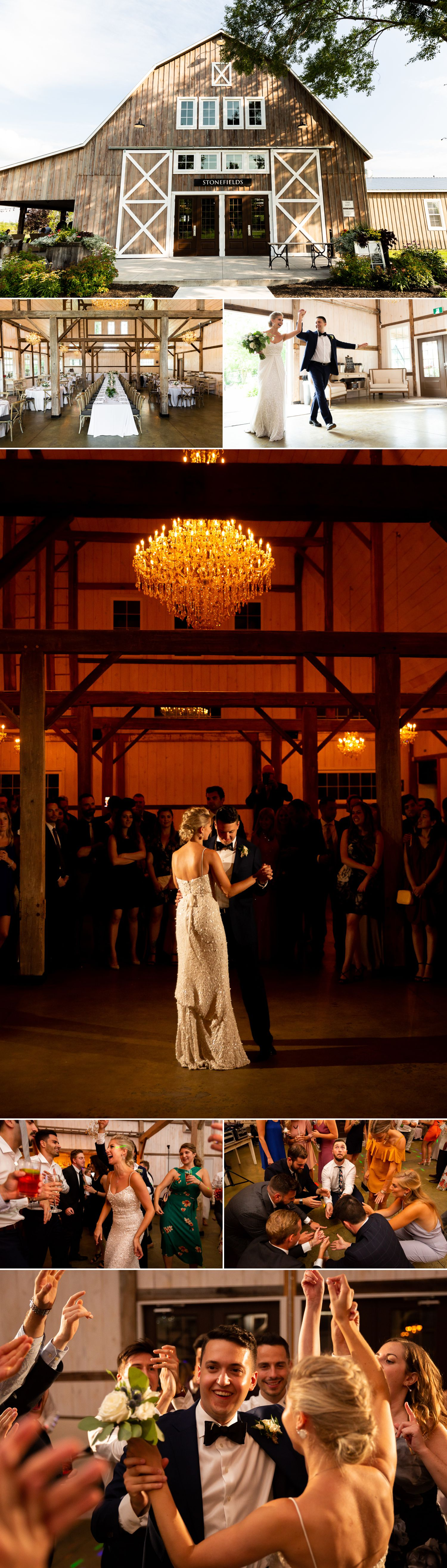 A wedding reception taking place inside the newly built barn at Stonefields Estate